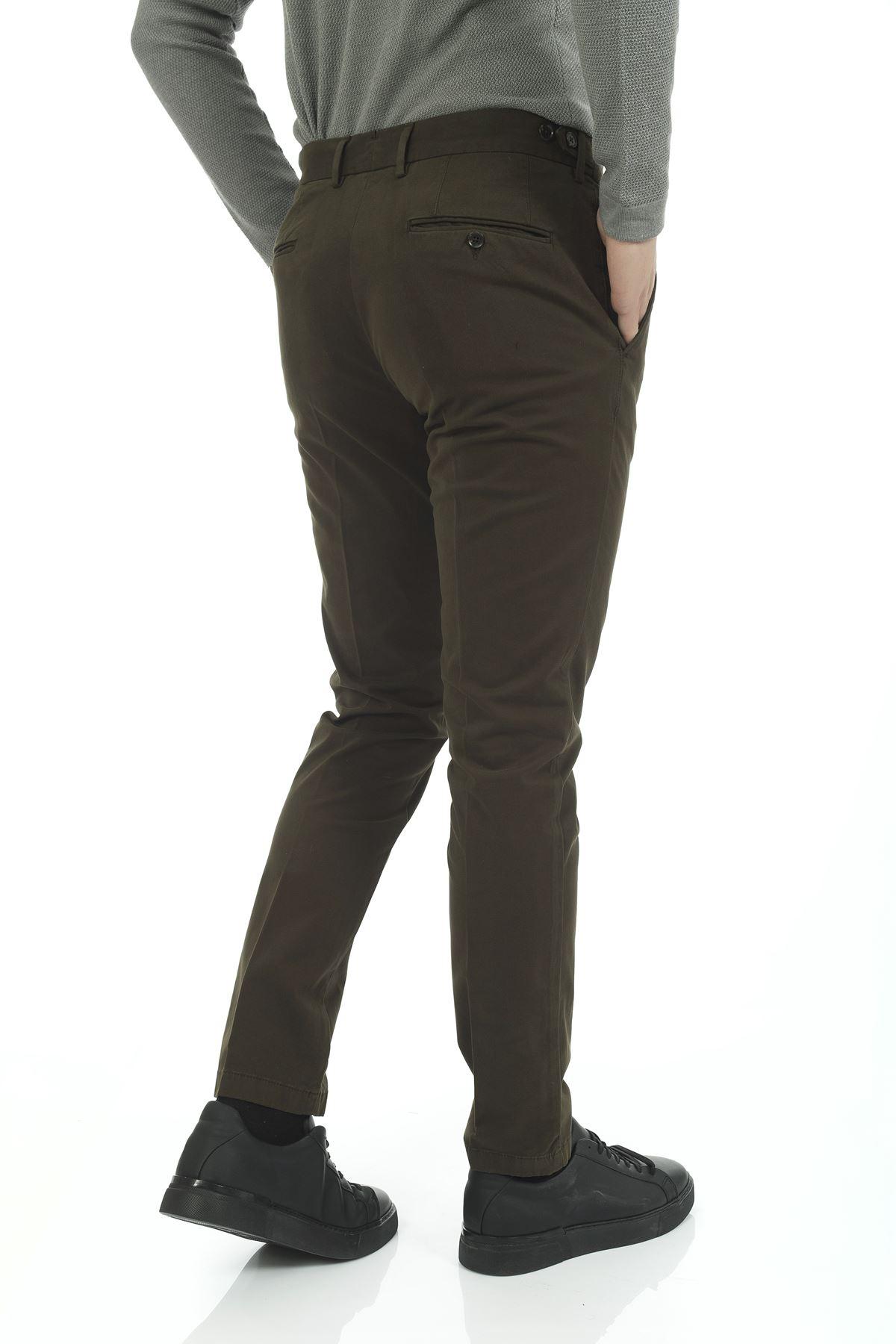 Haki Dar Paça Slim Chino Pantolon