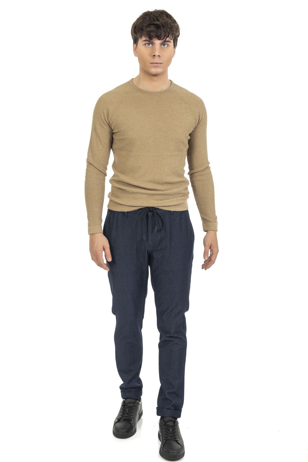 Lacivert Bağcıklı Jogger Pantolon