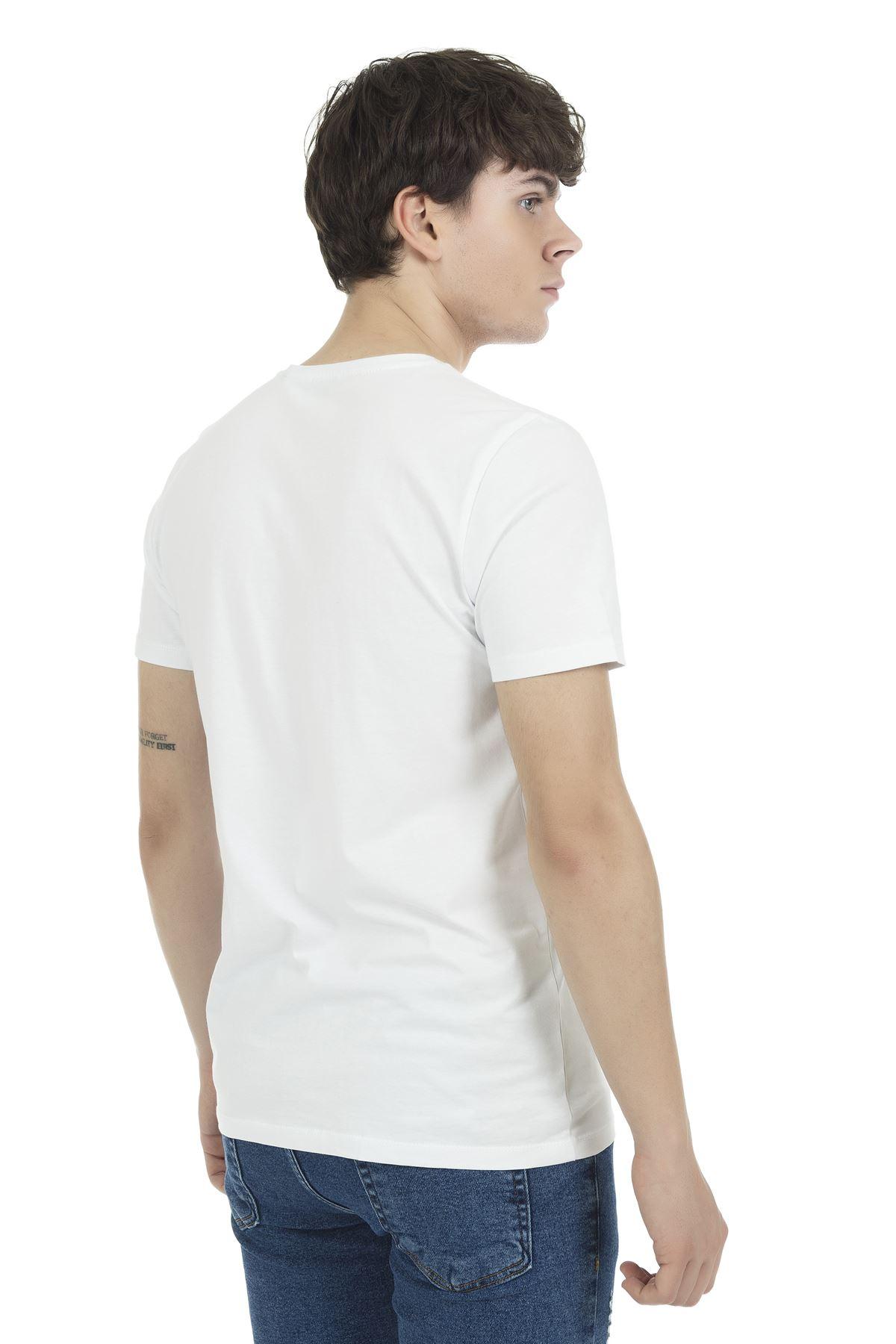 Beyaz Bisiklet Yaka Kısa Kol Süpreme Baskılı Tshirt