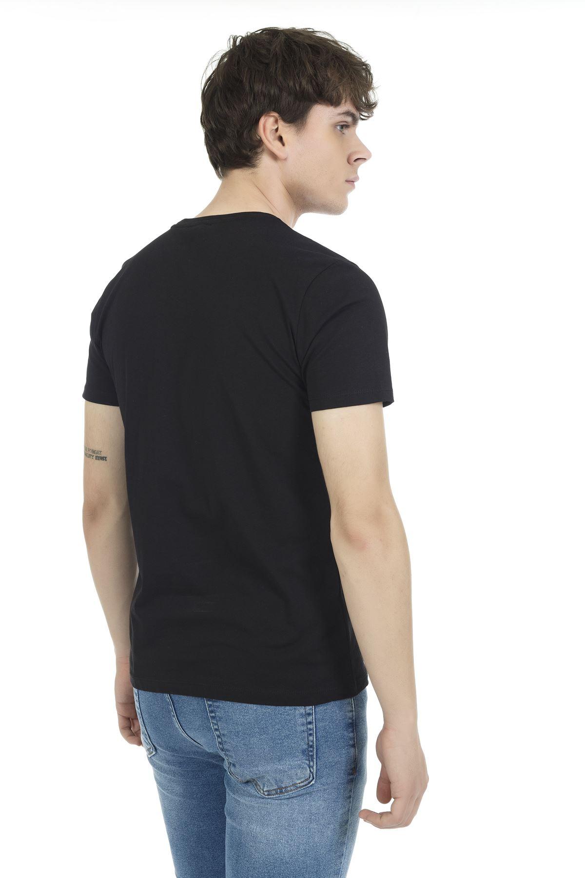 Siyah Bisiklet Yaka Kısa Kol Süpreme Baskılı Tshirt