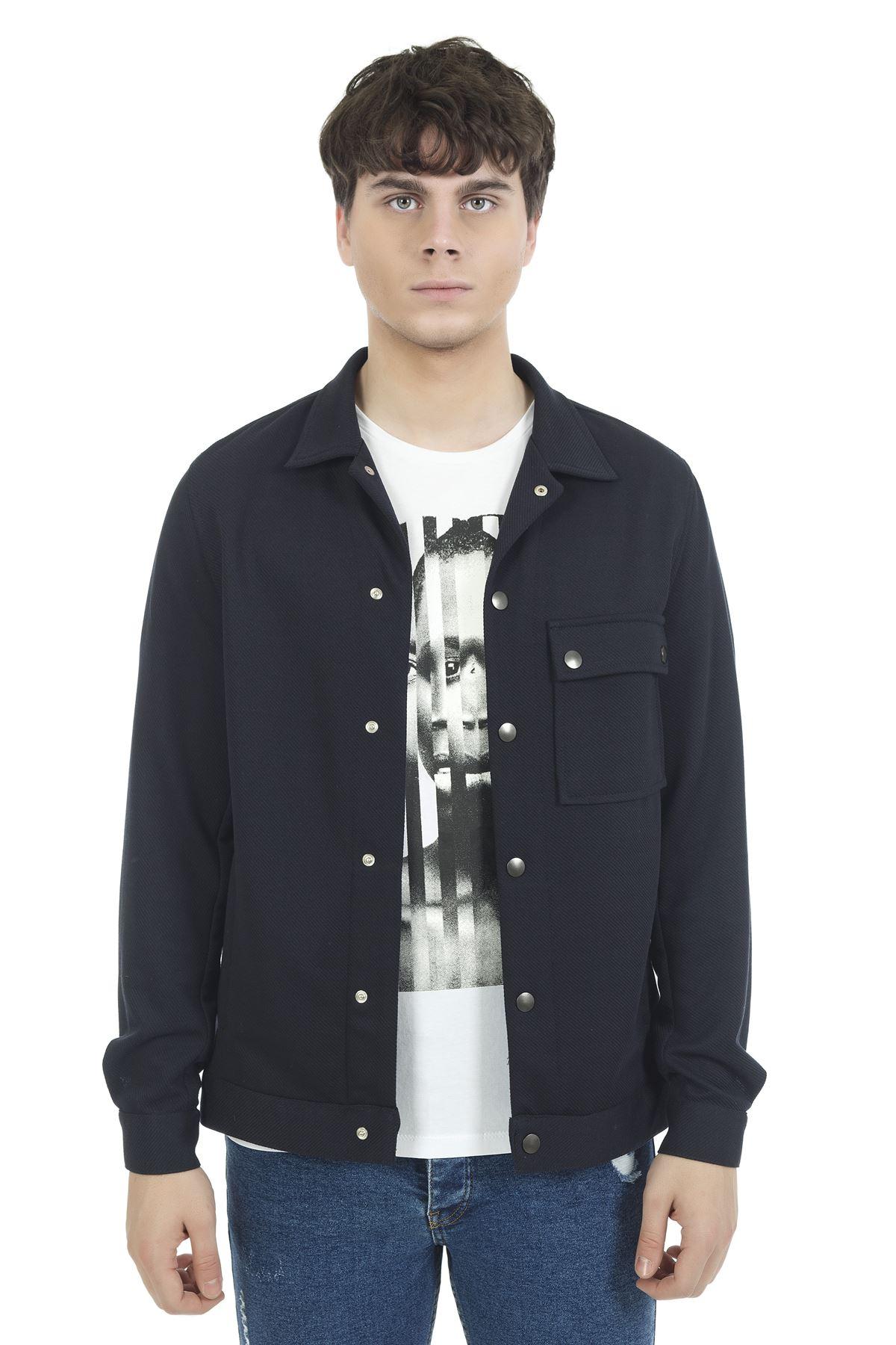 Lacivert Gömlek Yaka Çıt Çıtlı Sweatshirt