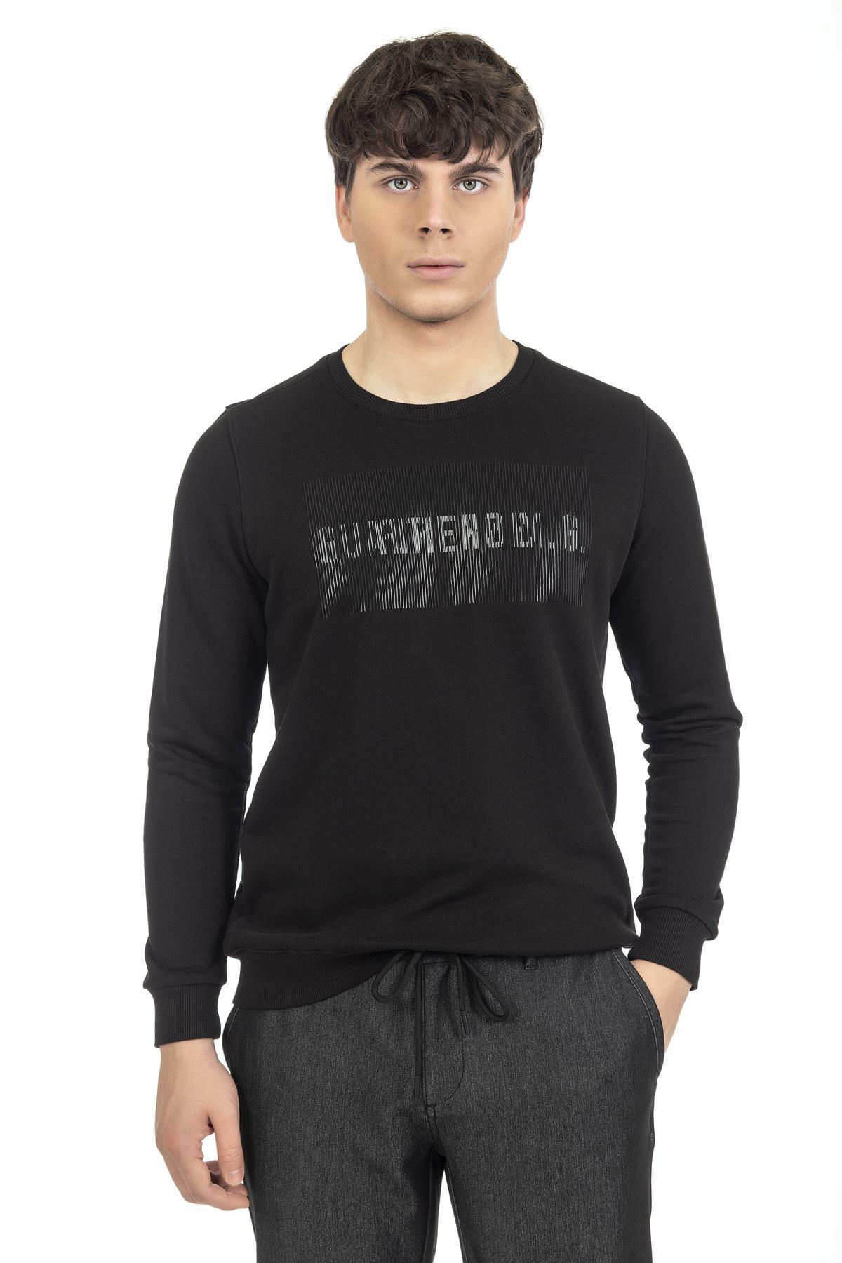 Siyah Bisiklet Yaka Baskılı Sweatshirt