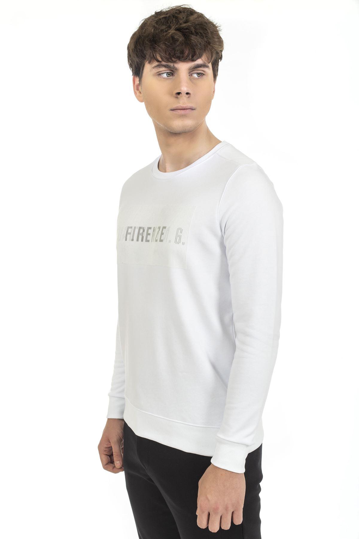 Beyaz Bisiklet Yaka Baskılı Sweatshirt