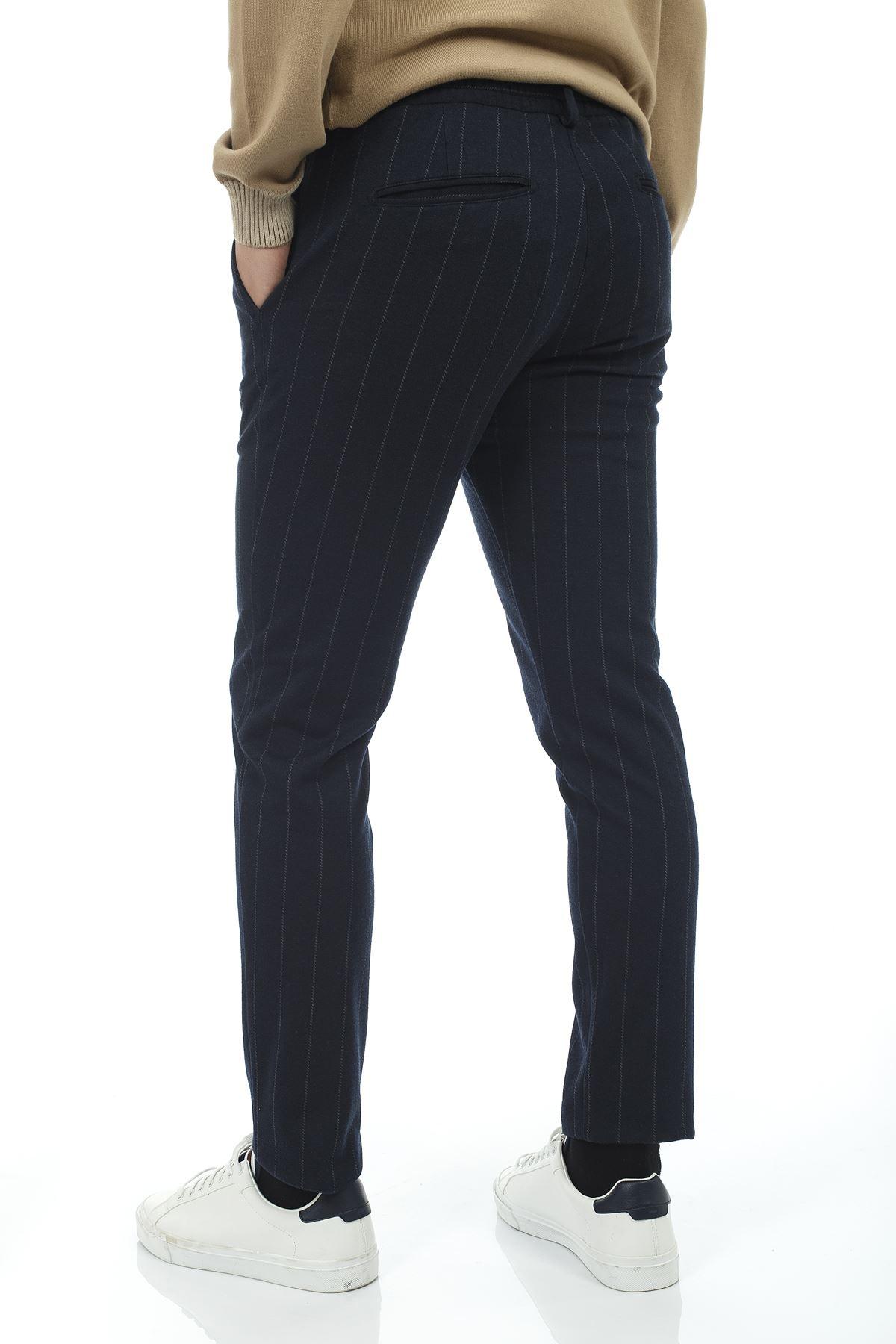 Lacivert Beyaz Çizgili Jogger Spor Pantolon
