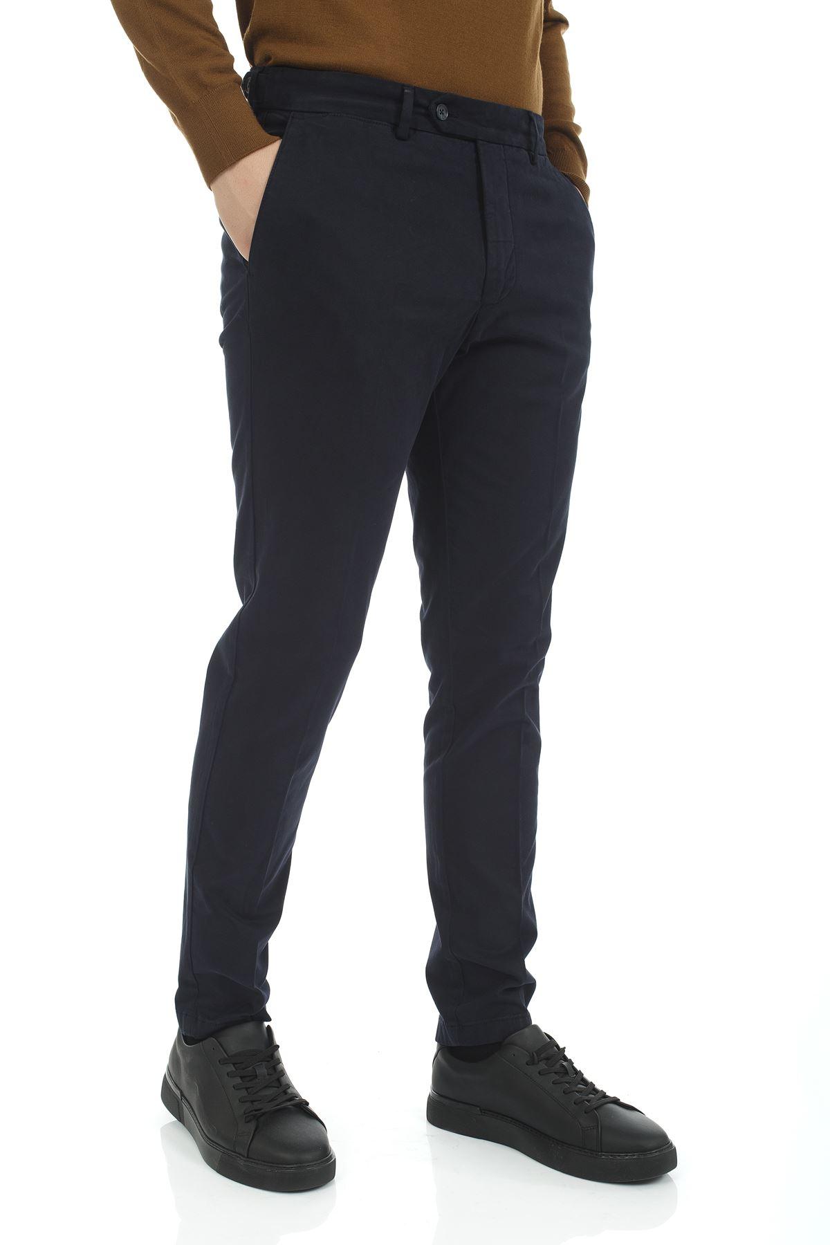 Lacivert Dar Paça Slim Chino Pantolon