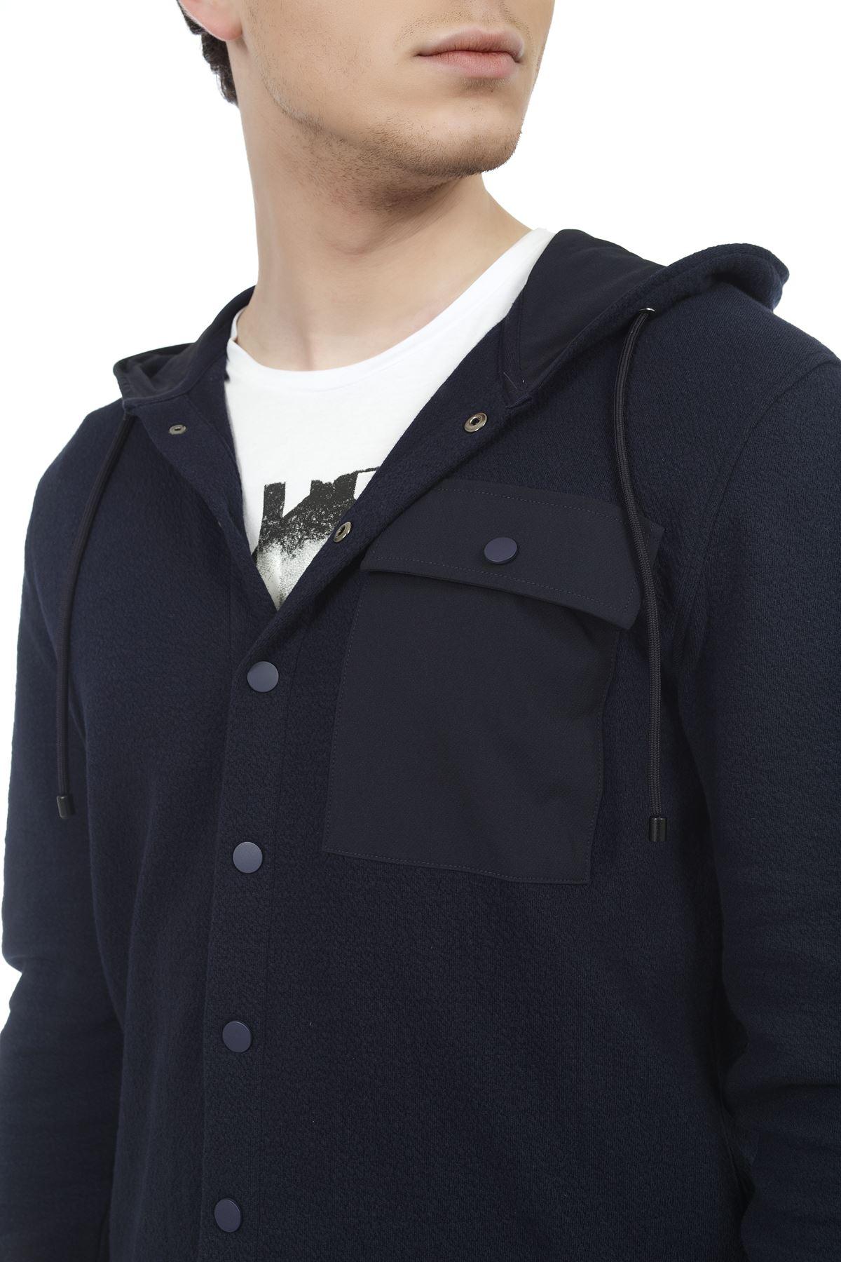 Lacivert Kapüşonlu Örme Sweatshirt