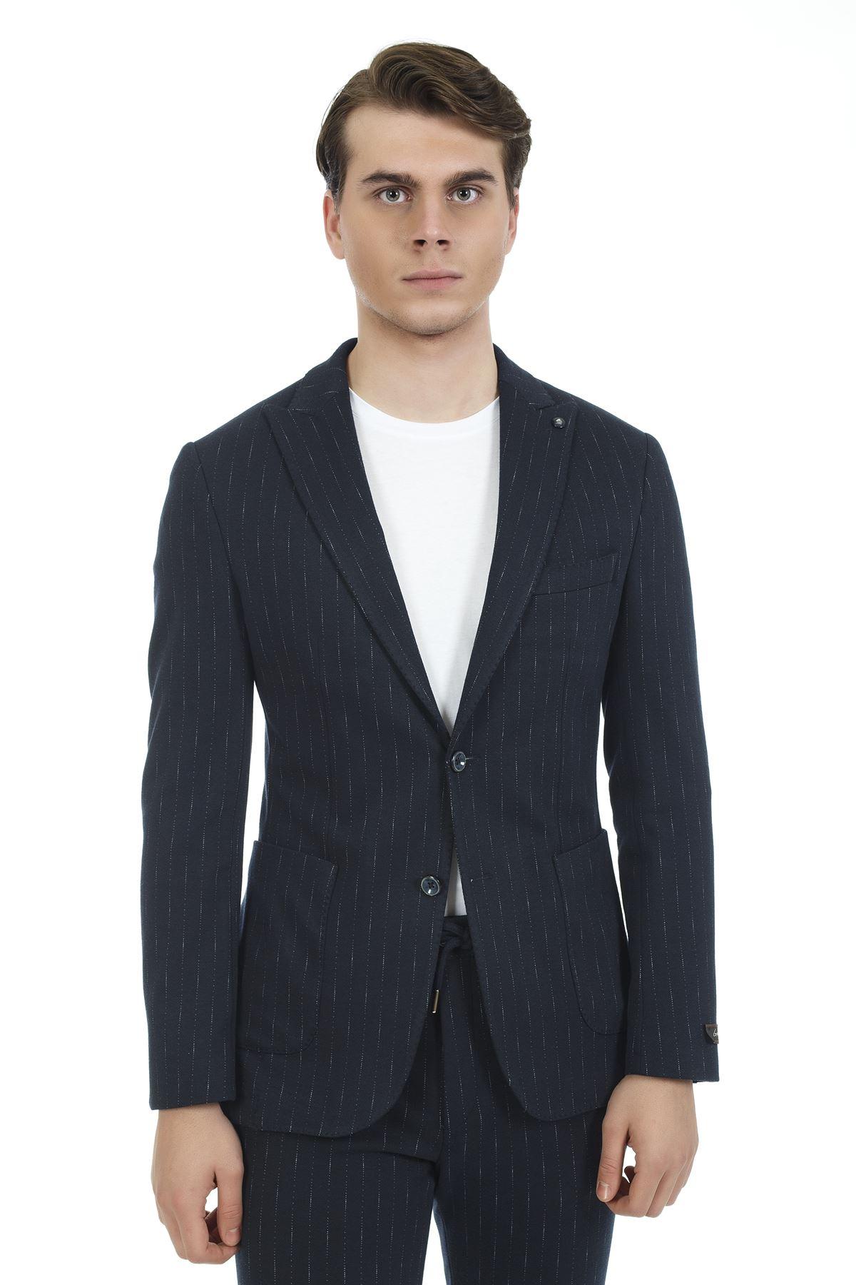 Lacivert Beyaz Çizgili Süper Slim Likralı Spor Takım Elbise