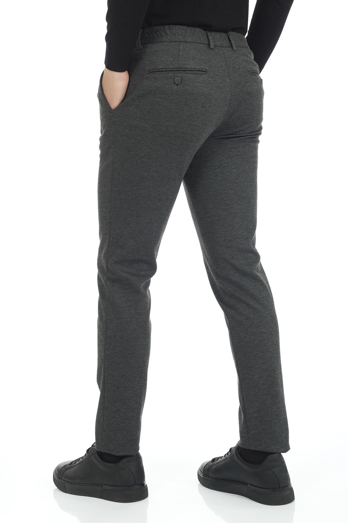 Gri Likralı Bel Lastikli Bağcıklı Süper Slim Jogger Spor Pantolon