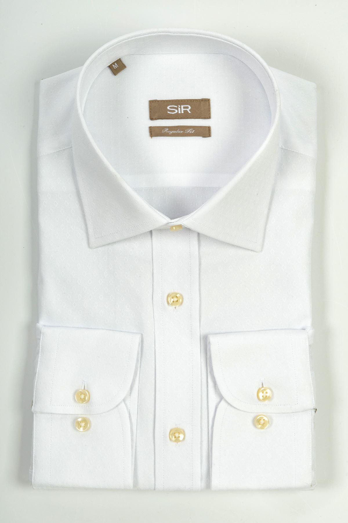 Beyaz Damla Desenli Regular Kalıp Gömlek