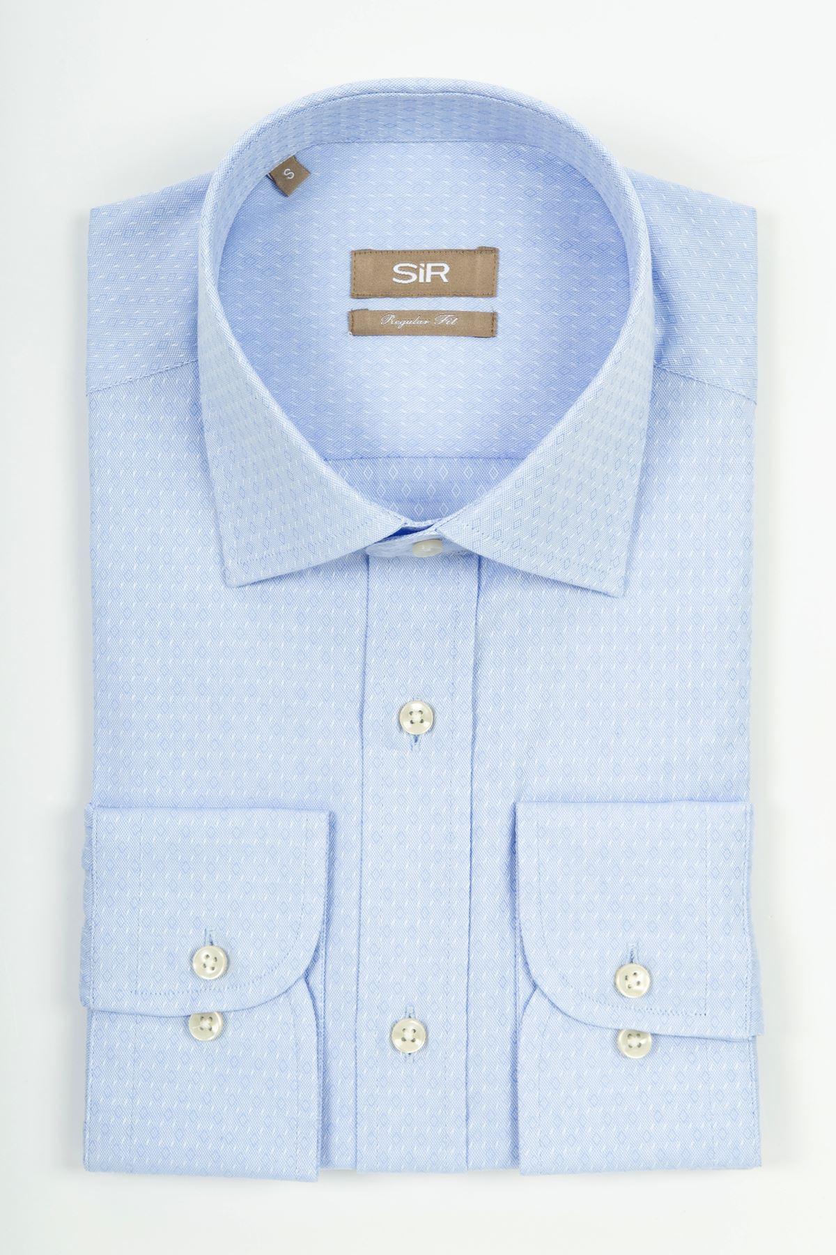 Açık Mavi Dokulu Regular Gömlek