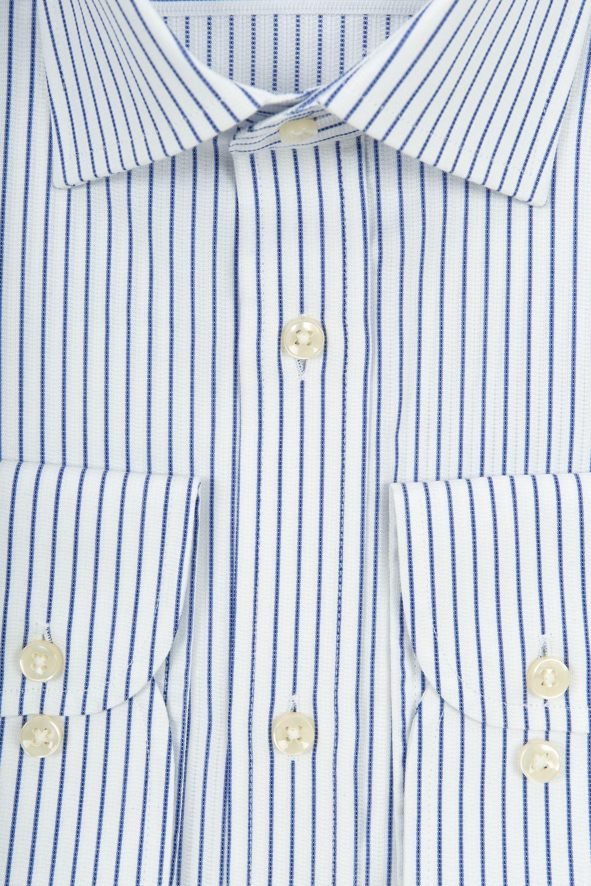 Beyaz Mavi Çizgili Regular Gömlek