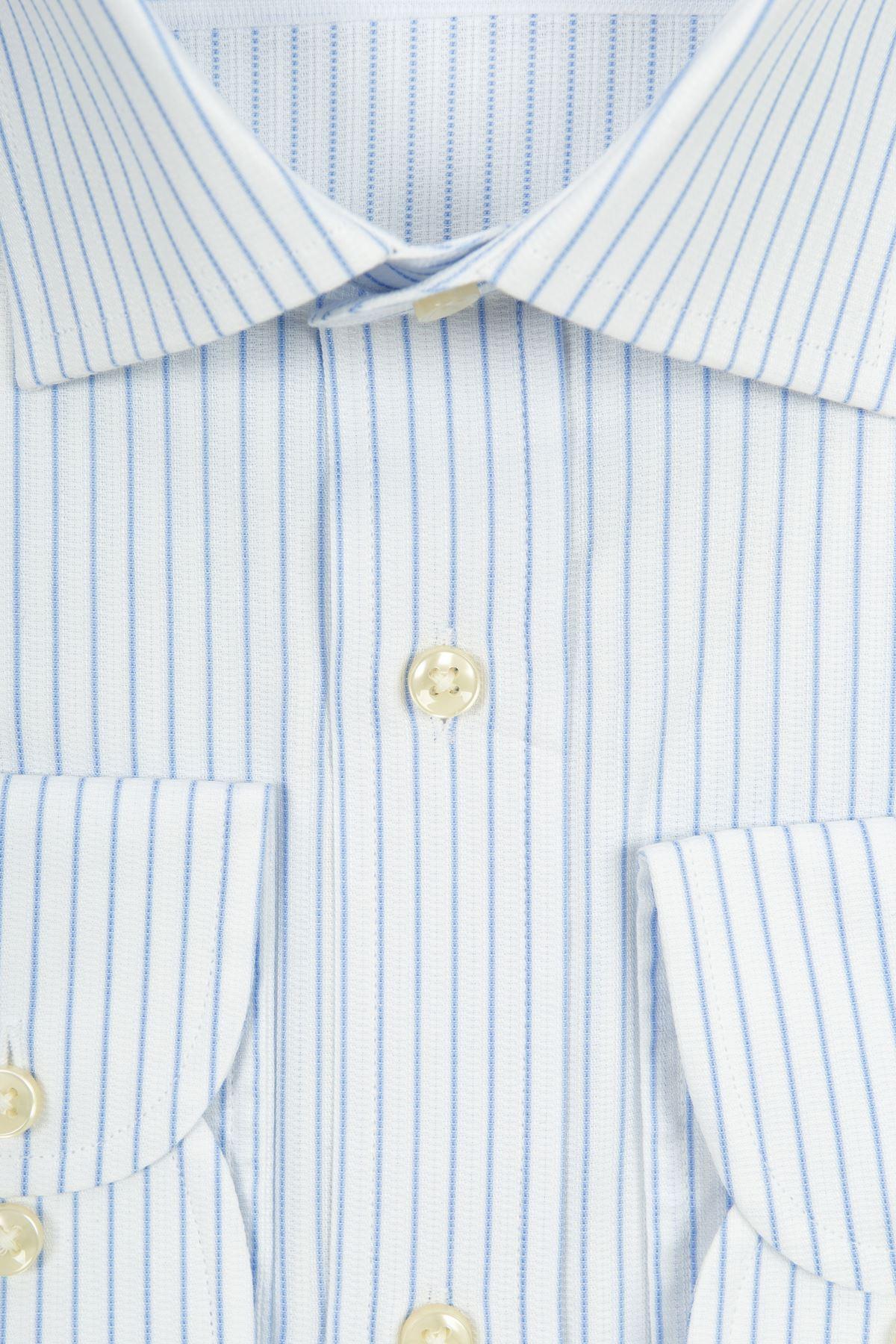 Beyaz Açık Mavi Çizgili Regular Gömlek