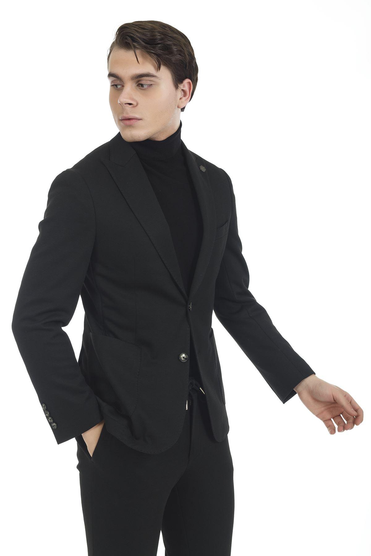 Siyah Süper Slim Takım Elbise