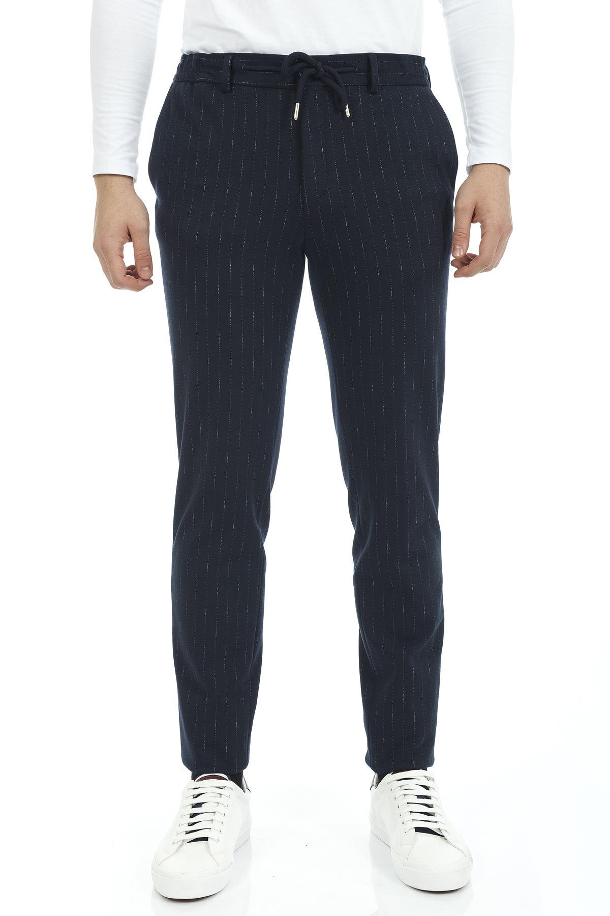 Lacivert Beyaz Çizgili Bağcıklı Süper Slim Jogger Pantolon