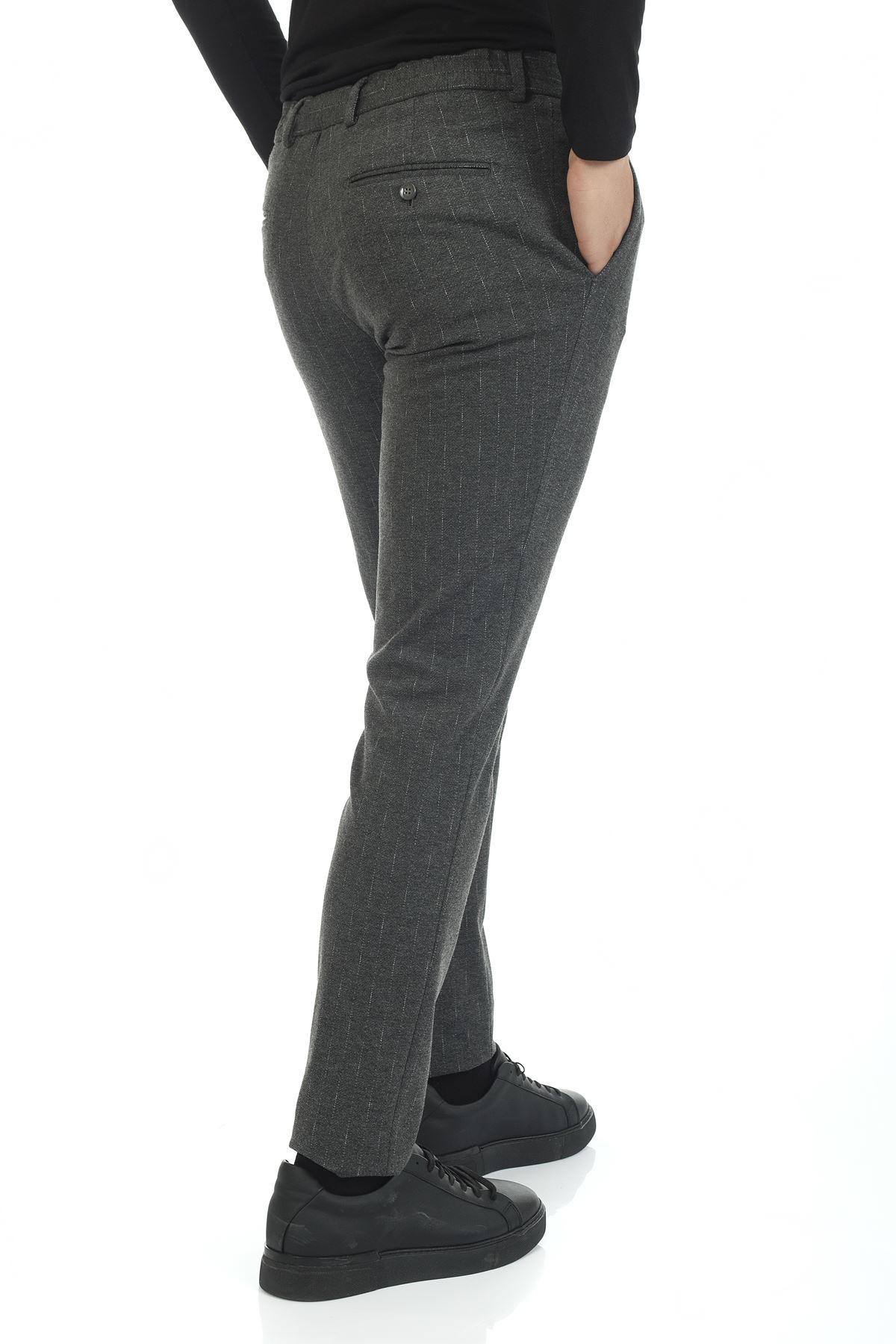 Gri Beyaz Çizgili Bağcıklı Süper Slim Jogger Pantolon