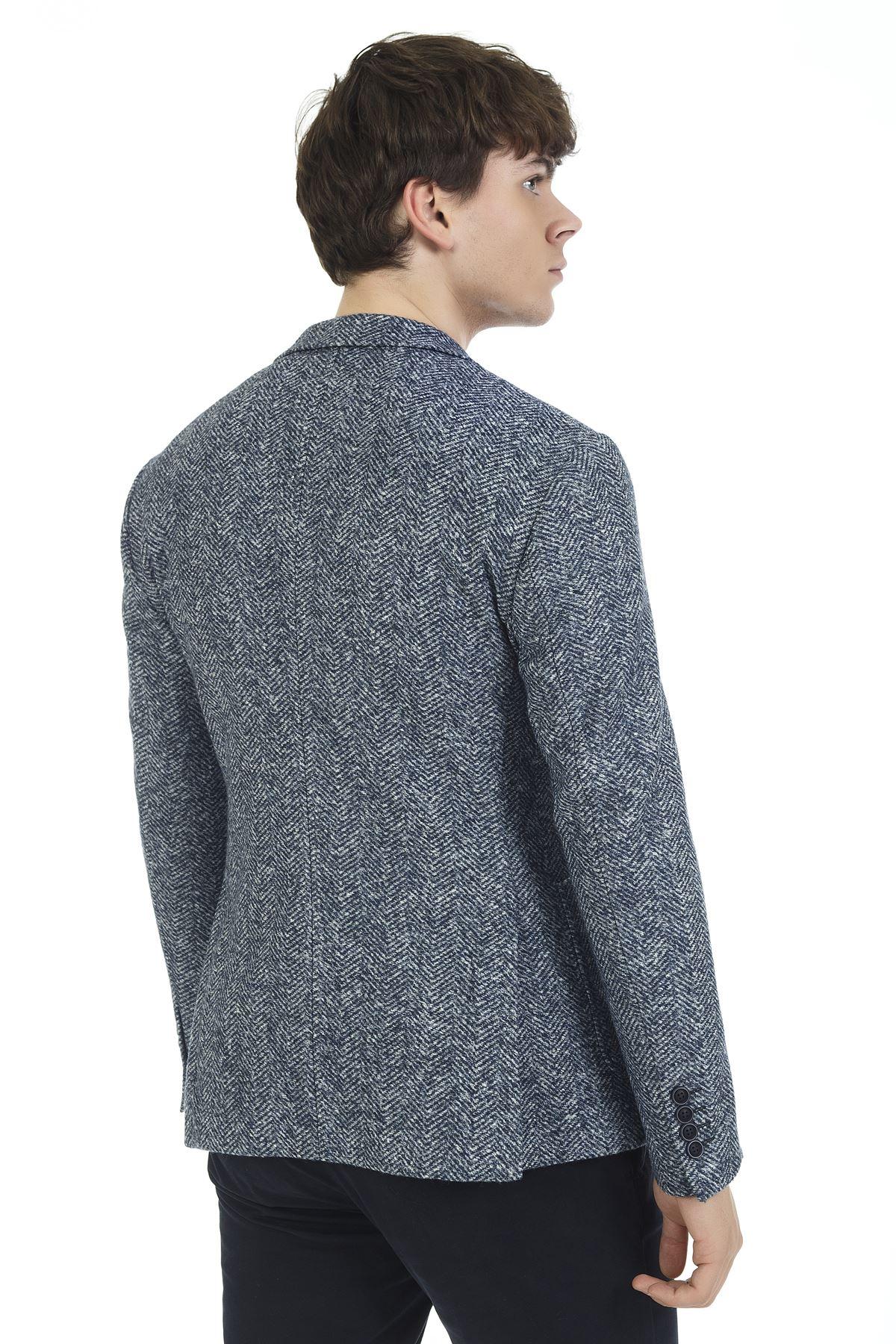 Mavi Balık Sırtı Süper Slim Ceket