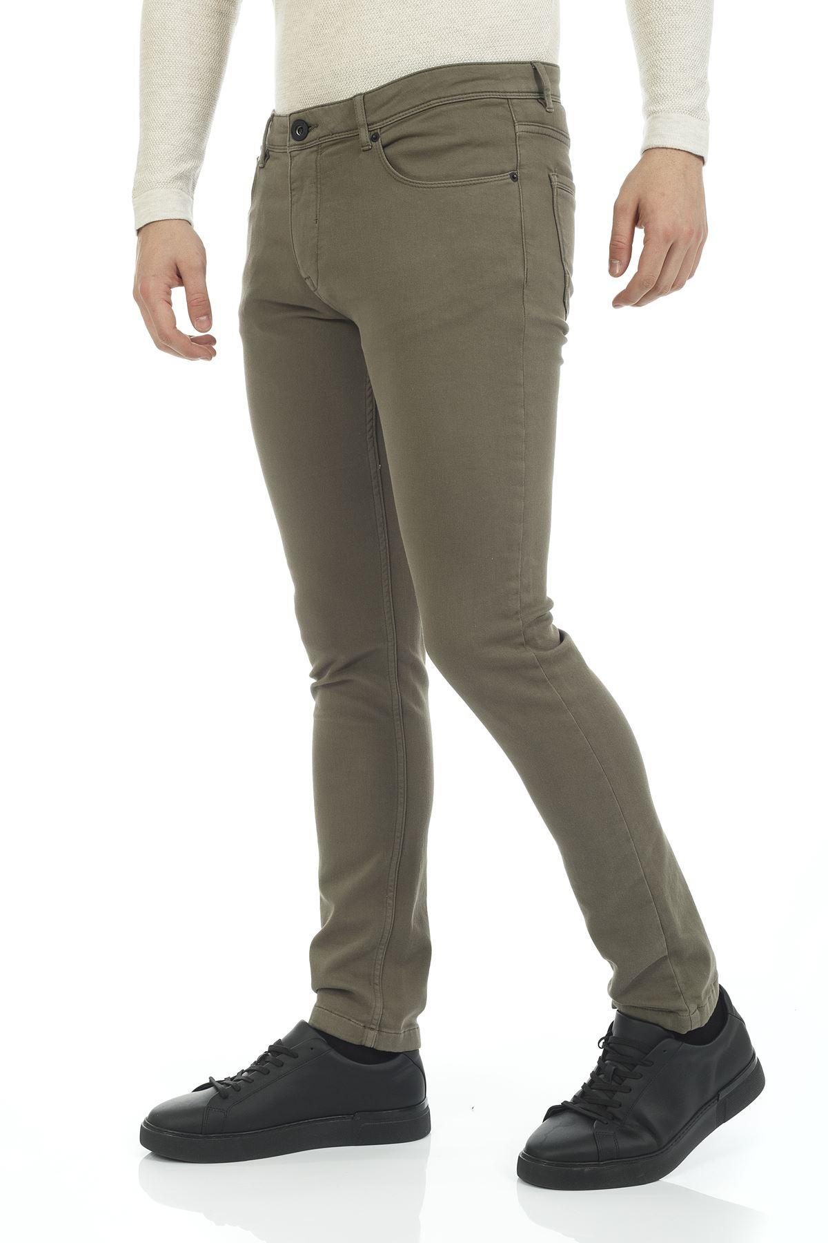 Haki 5 Cep Slim Canvas Pantolon