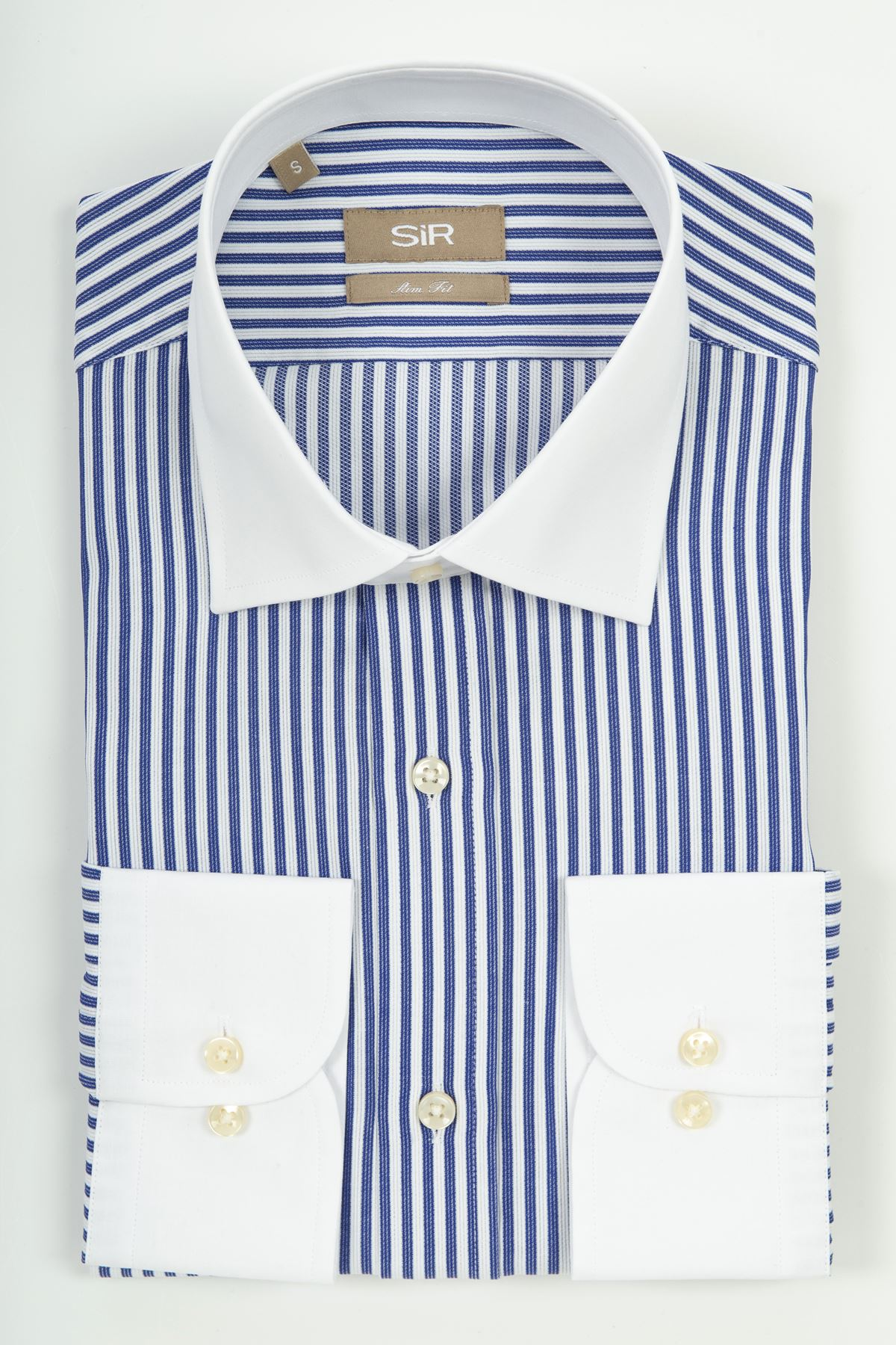 Lacivert Beyaz Çizgili Düz Beyaz Yaka Ve Cep Detaylı Gömlek