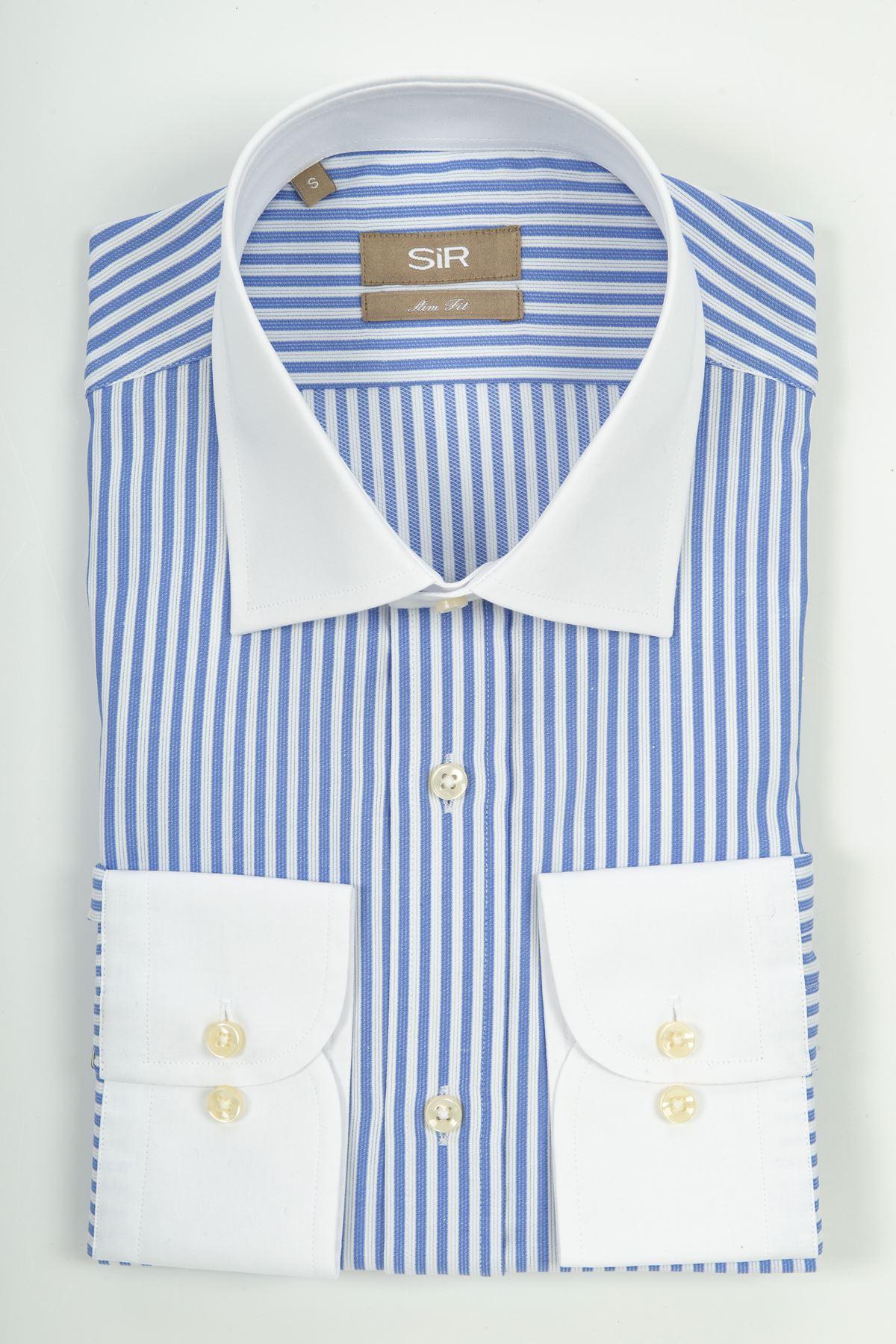 Mavi Beyaz Çizgili Düz Beyaz Yaka Ve Cep Detaylı Gömlek