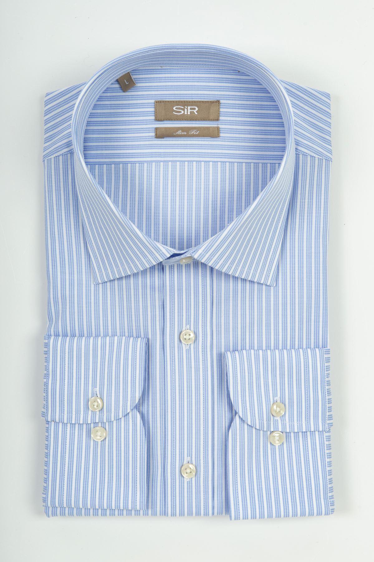Mavi Çizgili Regular Gömlek