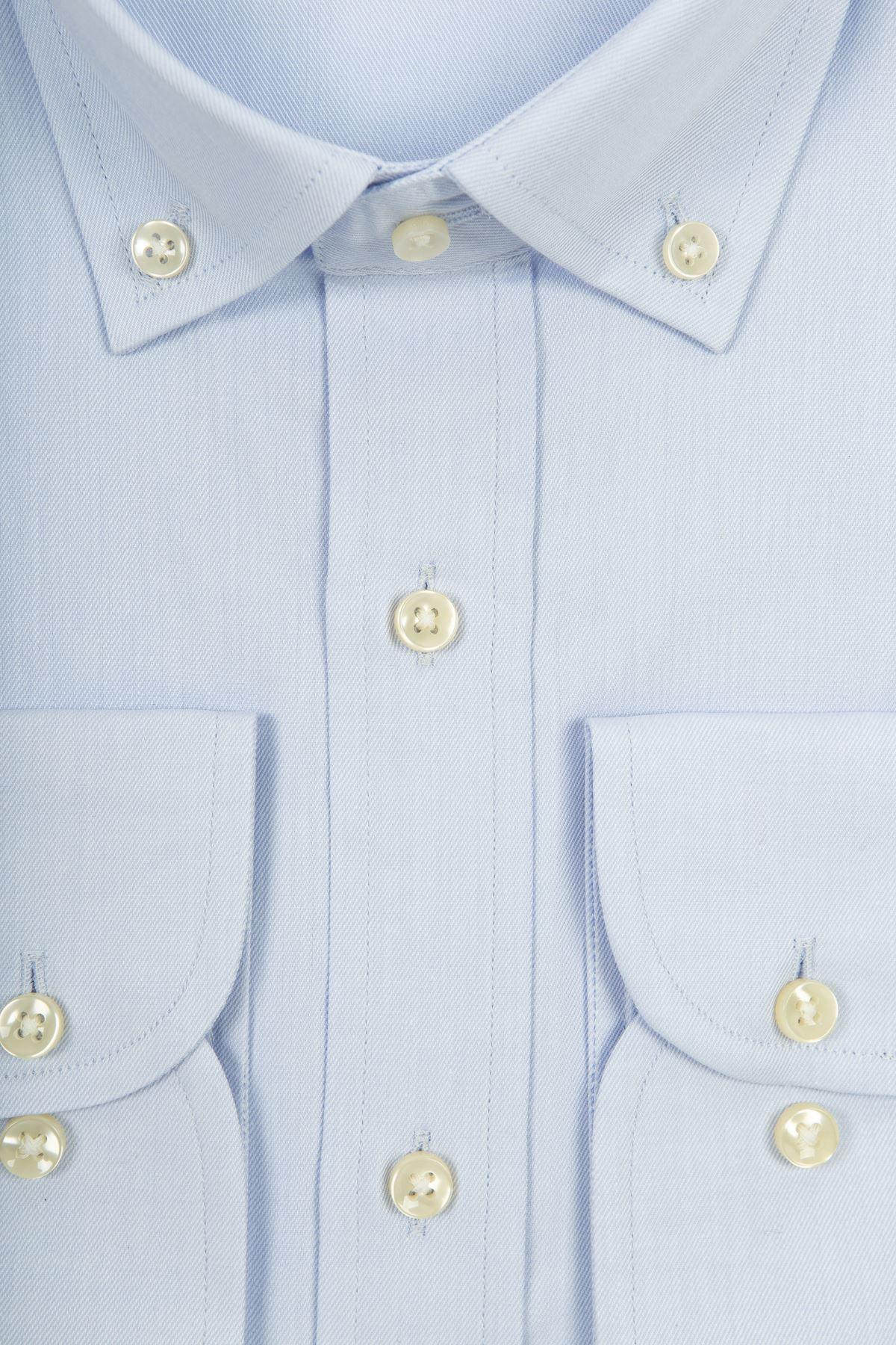 Açık Mavi Slim Kalıp Düğmeli Yaka Gömlek
