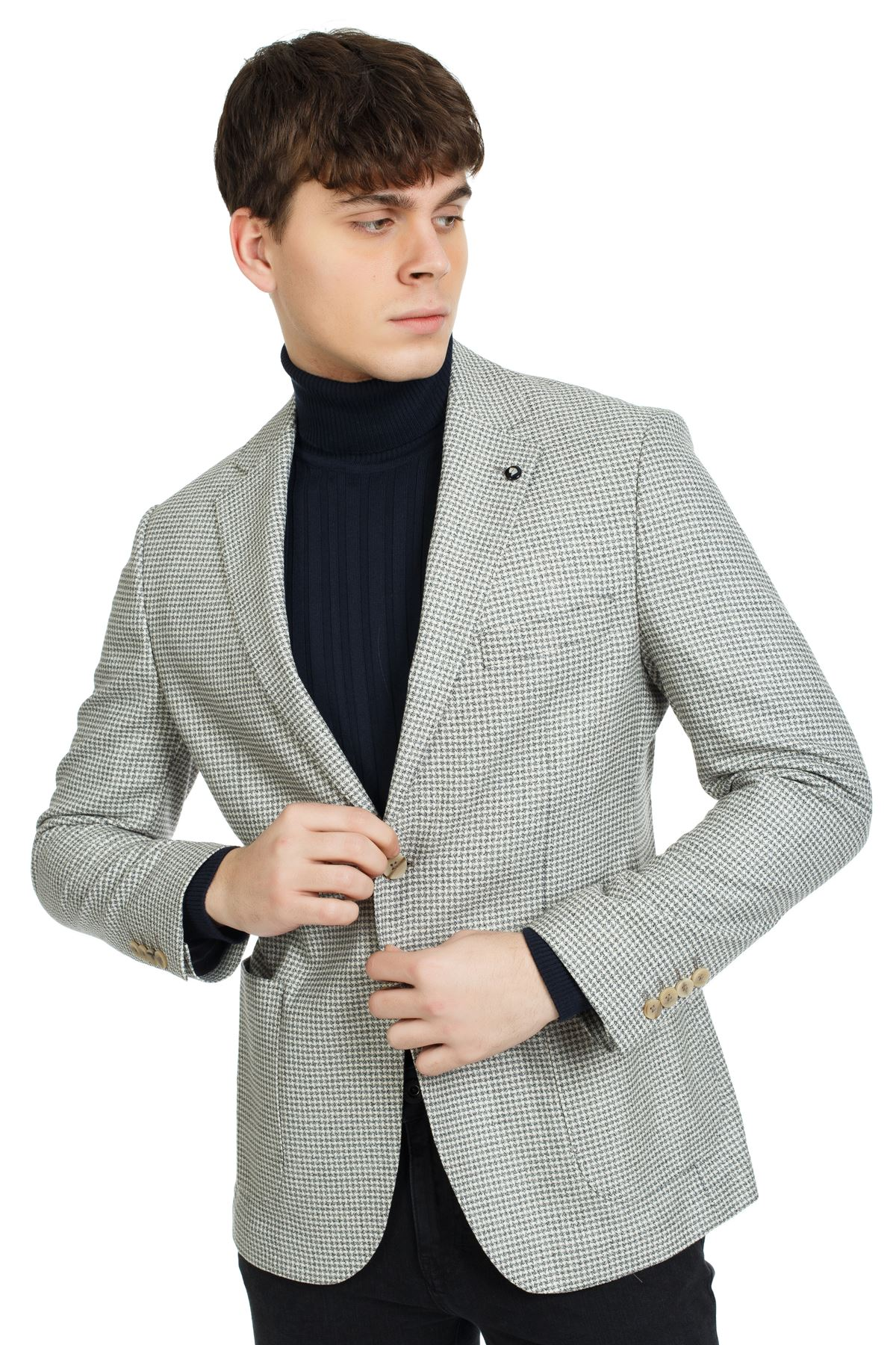 Siyah Ekru Desenli Slim Ceket