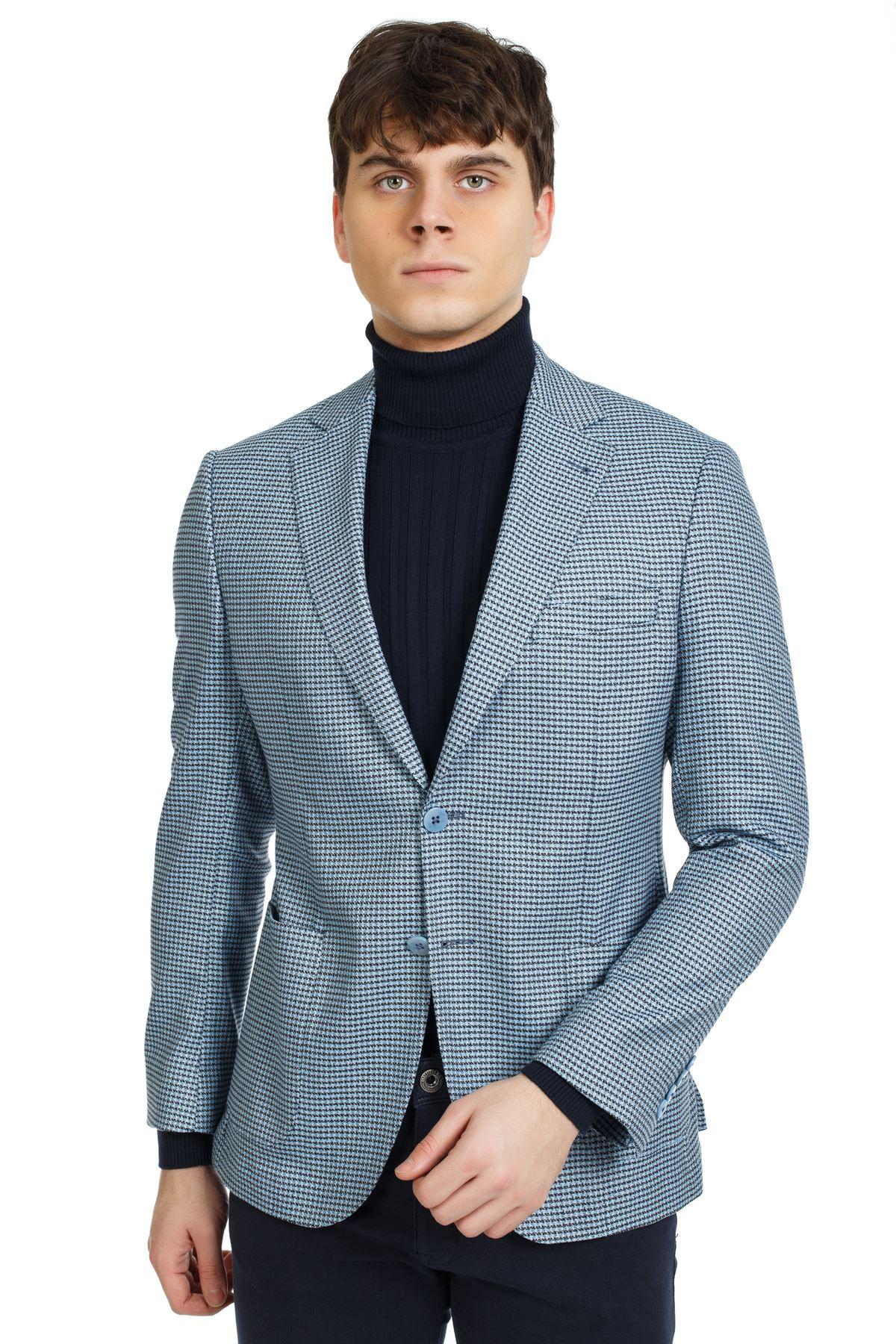 Açık Mavi Desenli Slim Ceket