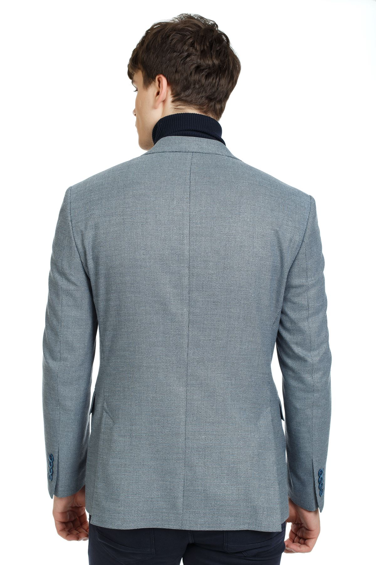 Lacivert Mavi Desenli Slim Ceket