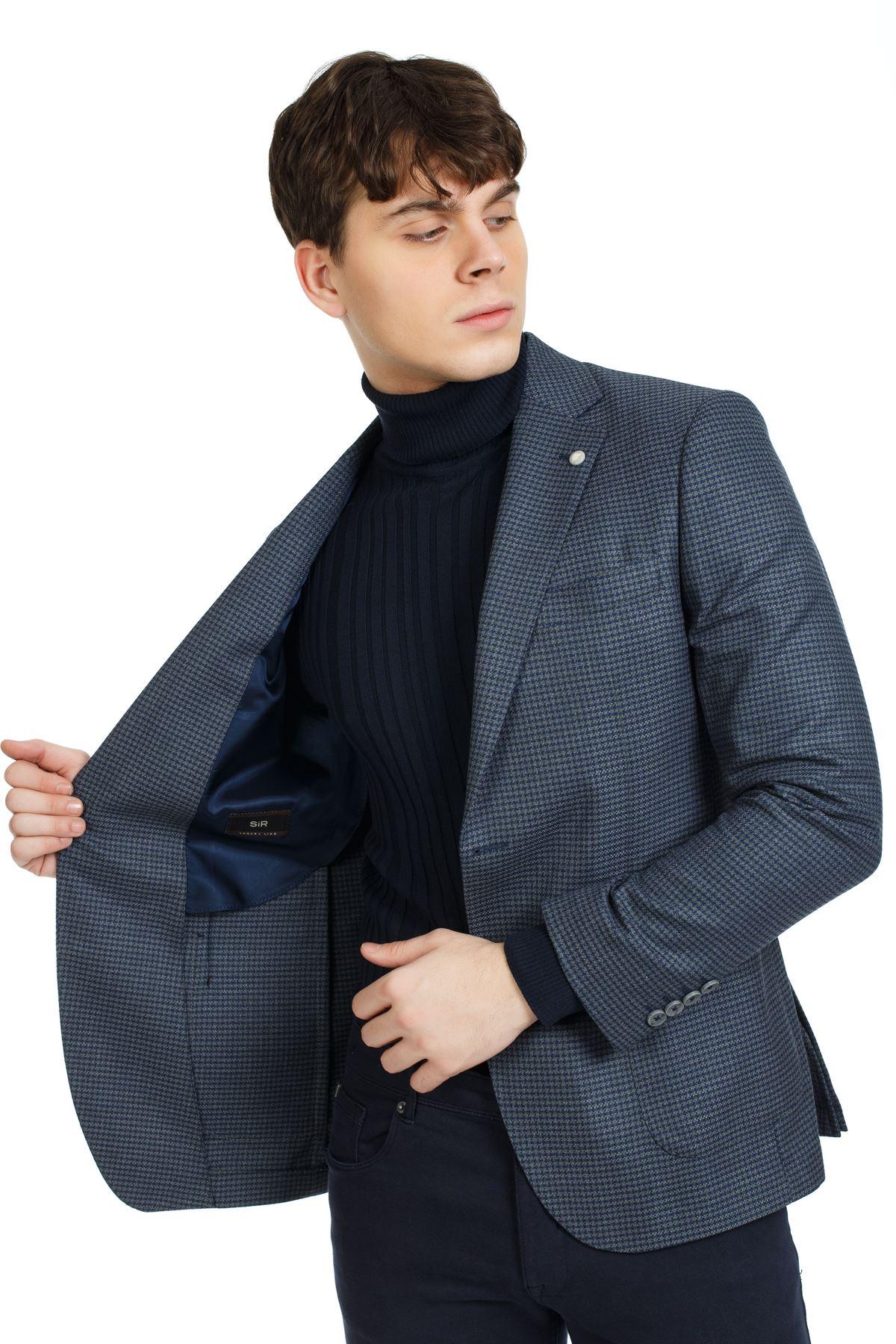 Lacivert Füme Kaz Ayağı Desenli Slim Ceket