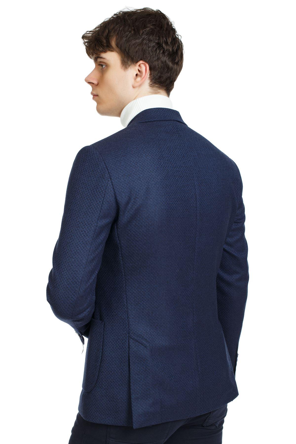 Lacivert Desenli Yünlü Slim Ceket