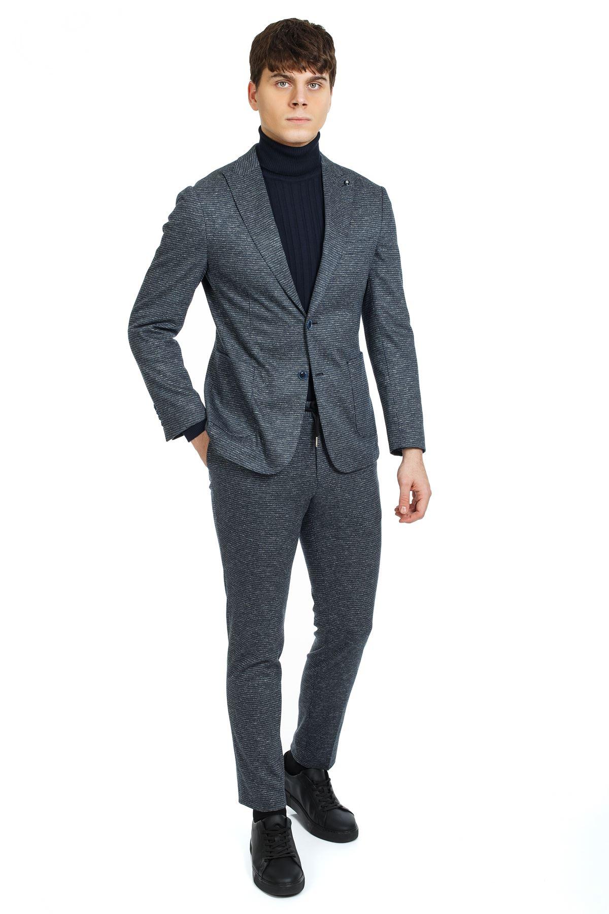 Lacivert Desenli Süper Slim Likralı Malzemesiz Spor Takım Elbise