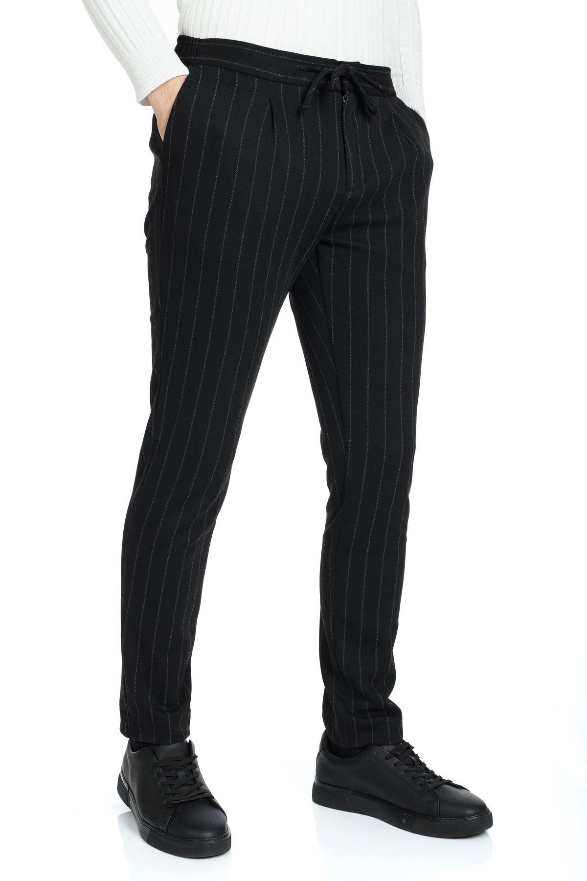 Siyah Beyaz Çizgili Jogger Spor Pantolon