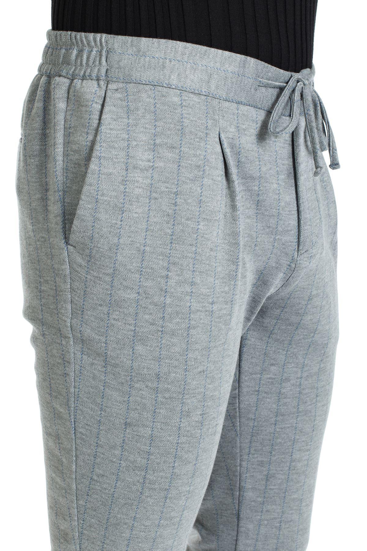 Gri Mavi Çizgili Jogger Spor Pantolon
