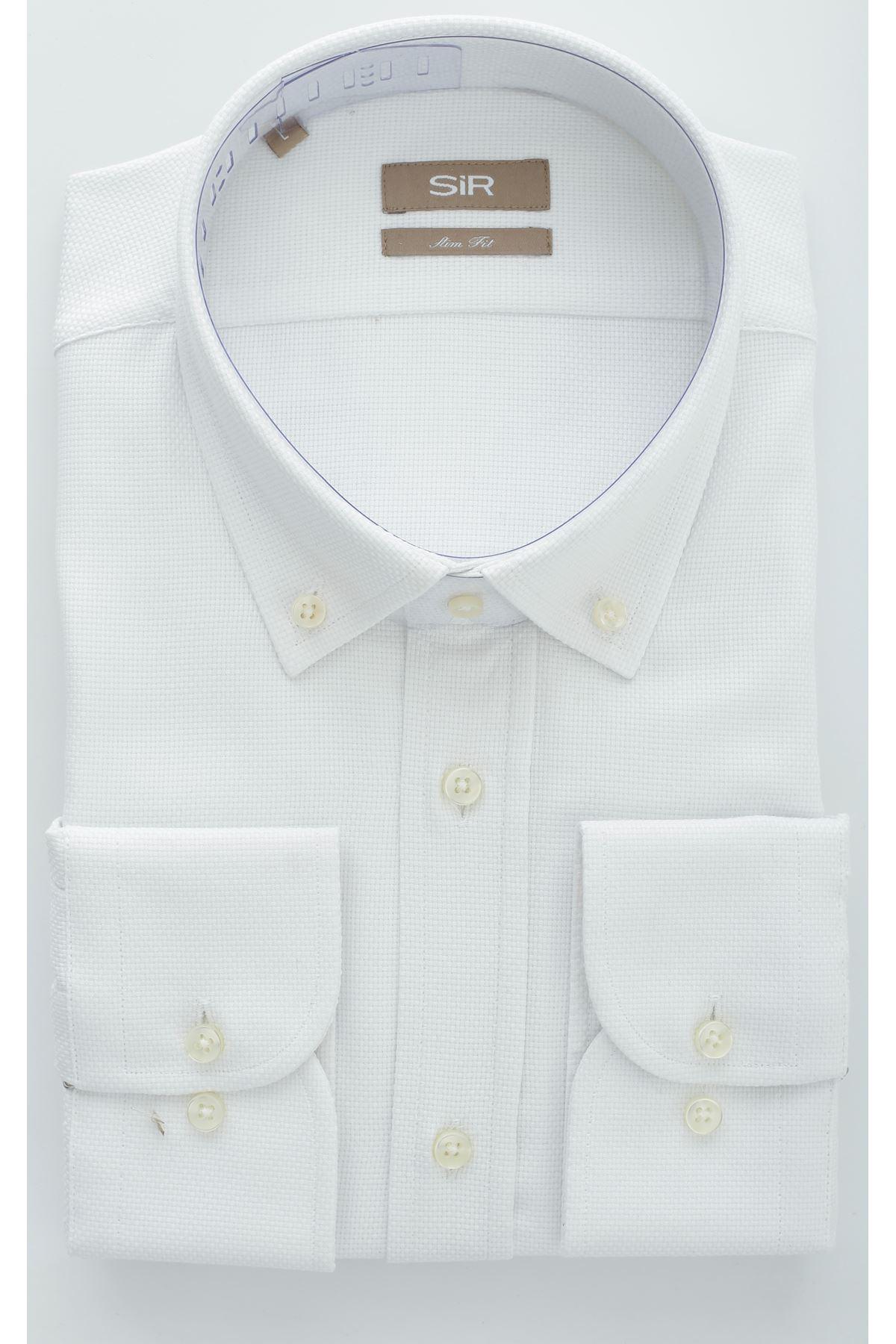 Beyaz Örgü Desen Dokulu Slim Gömlek