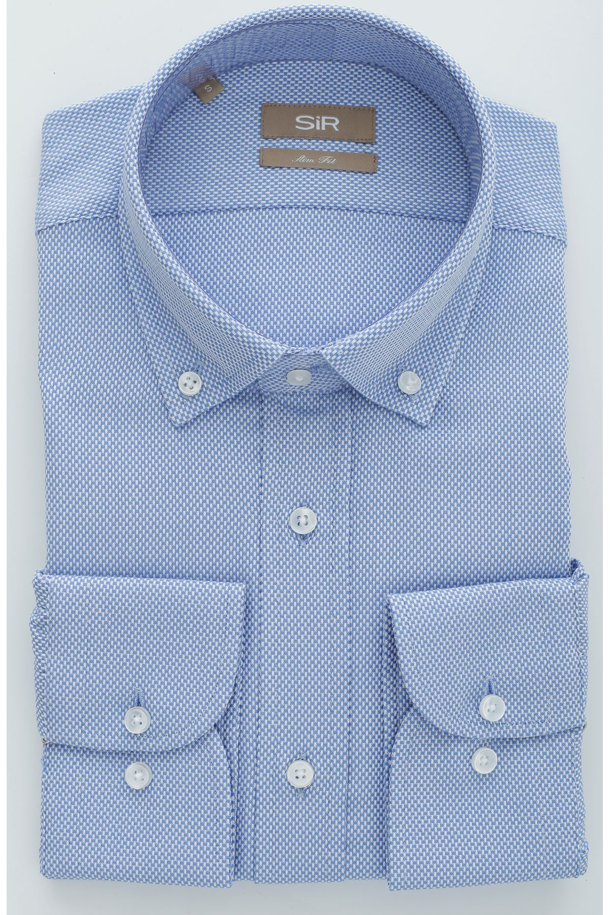 Mavi Dokulu Slim Gömlek