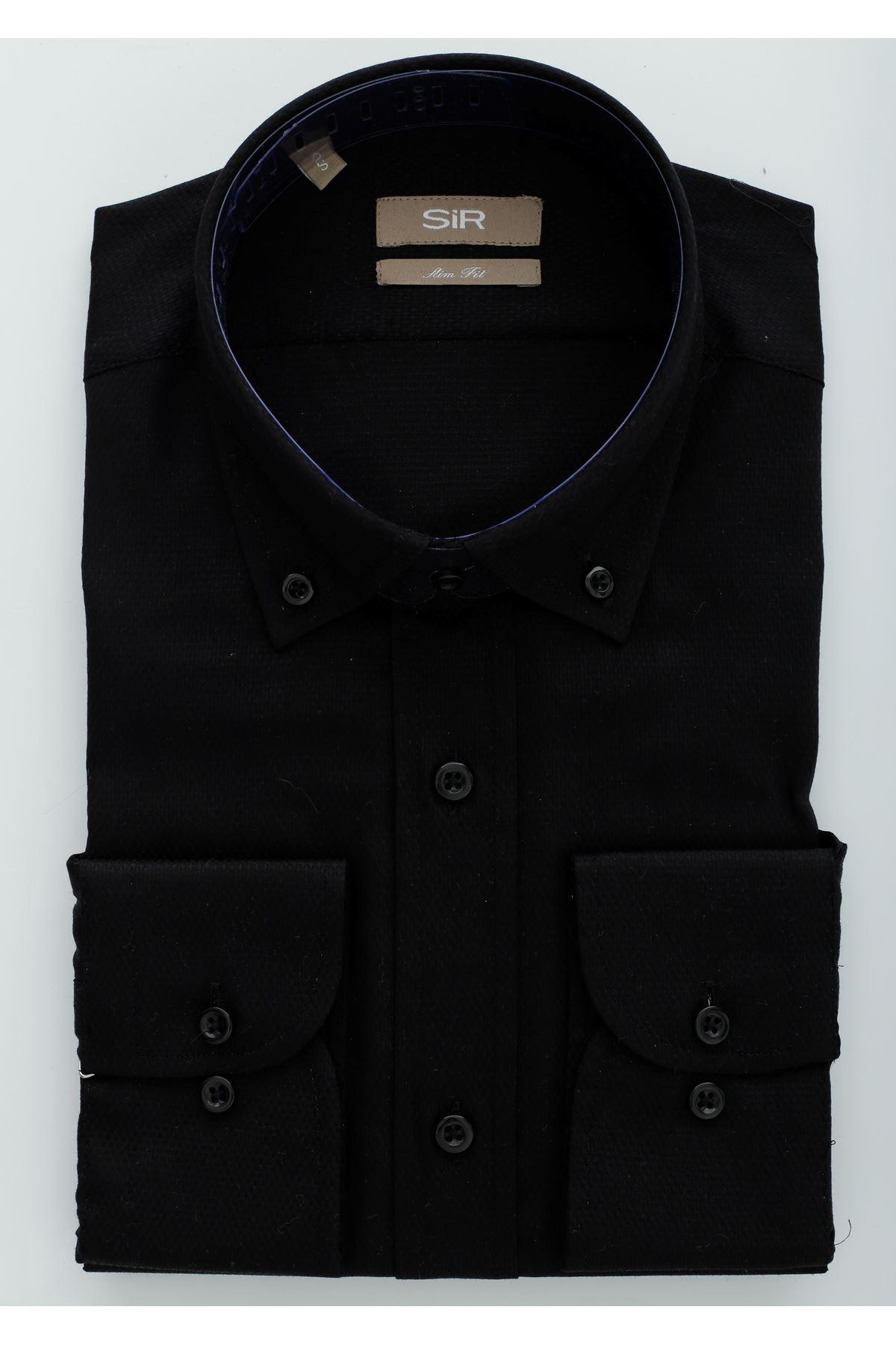 Siyah Dokulu Slim Gömlek