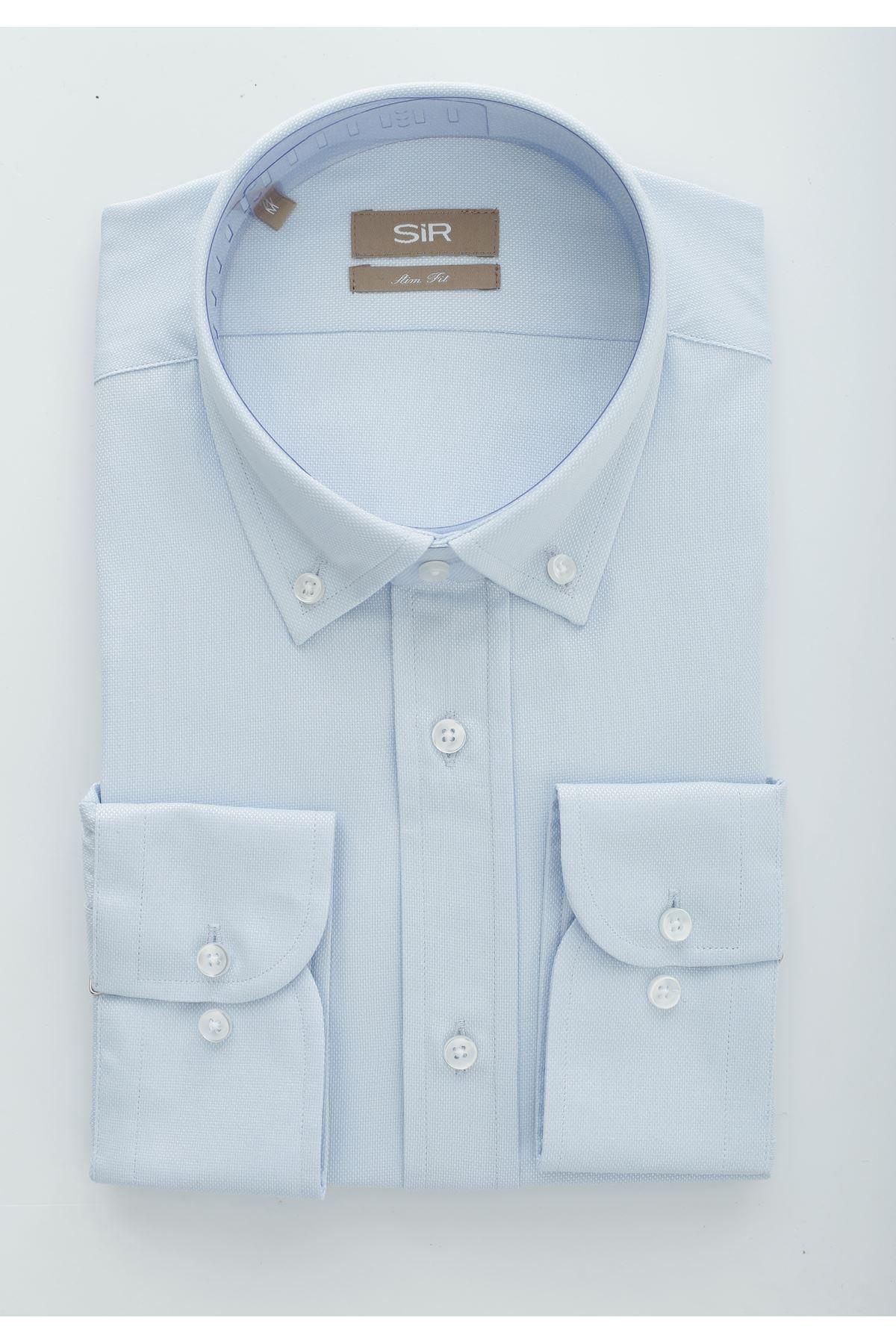 Açık Mavi Dokulu Slim Gömlek