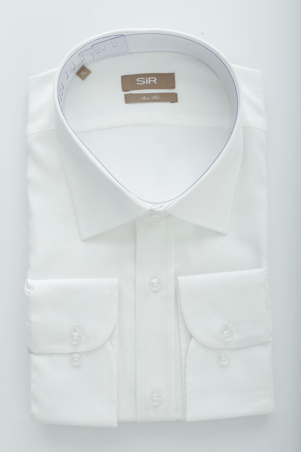 Beyaz Dioganel Desen Slim Gömlek