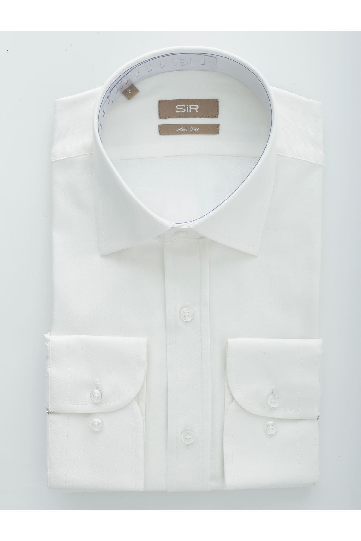 Ekru Balık Sırtı Desen Slim Gömlek