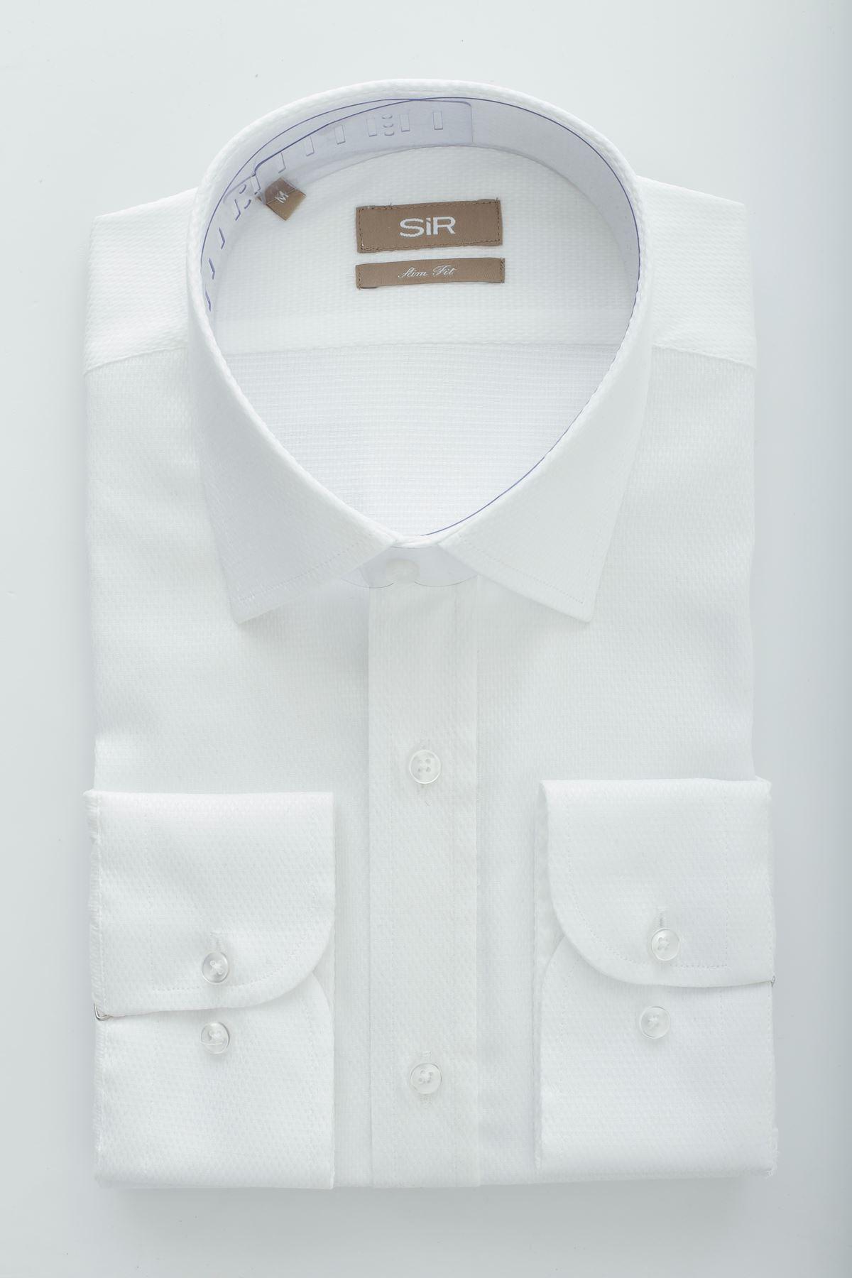 Beyaz Dokulu Slim Gömlek