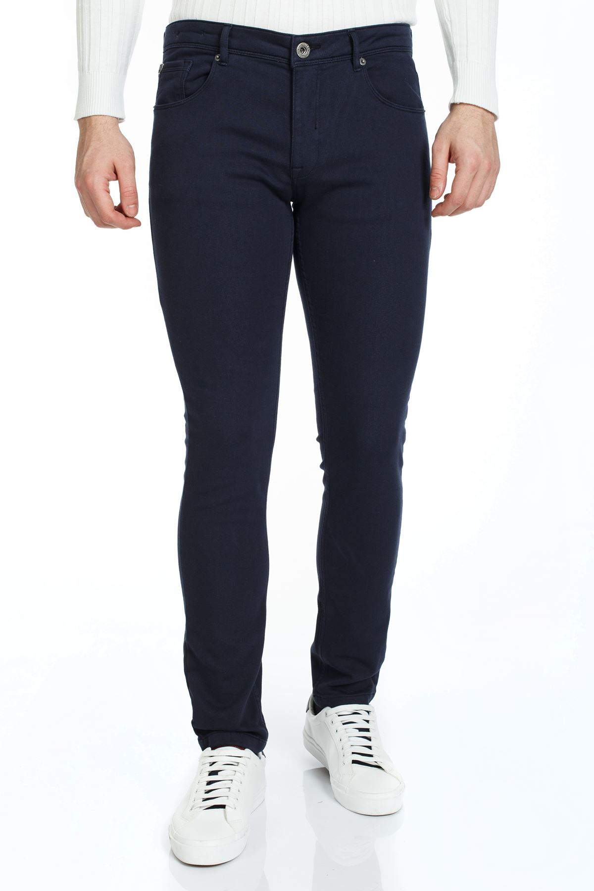 Lacivert 5 Cep Slim Canvas Pantolon