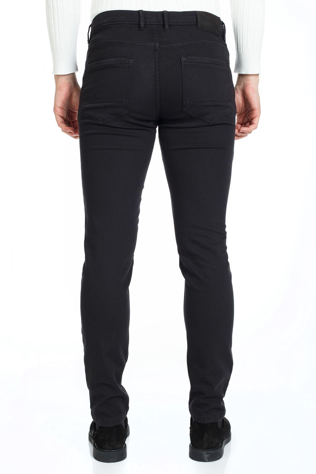 Siyah  5 Cep Slim Canvas Pantolon
