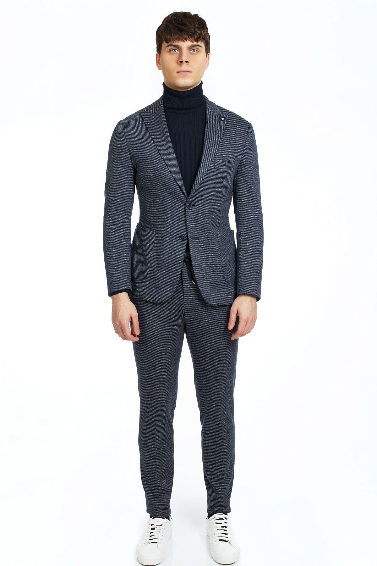 Lacivert Diagonel Desenli Süper Slim Takım Elbise