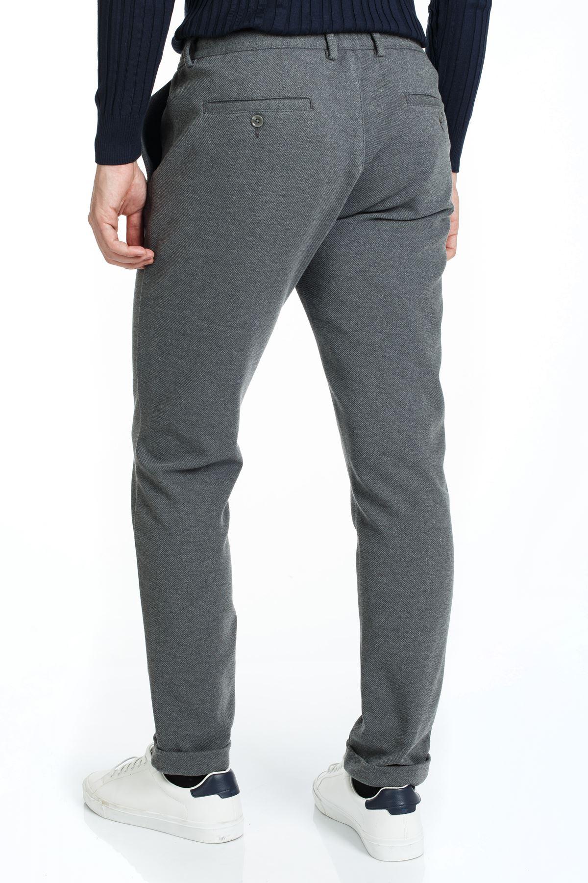 Antrasit Beli Lastikli İpli Slim Kalıp Jogger Pantolon