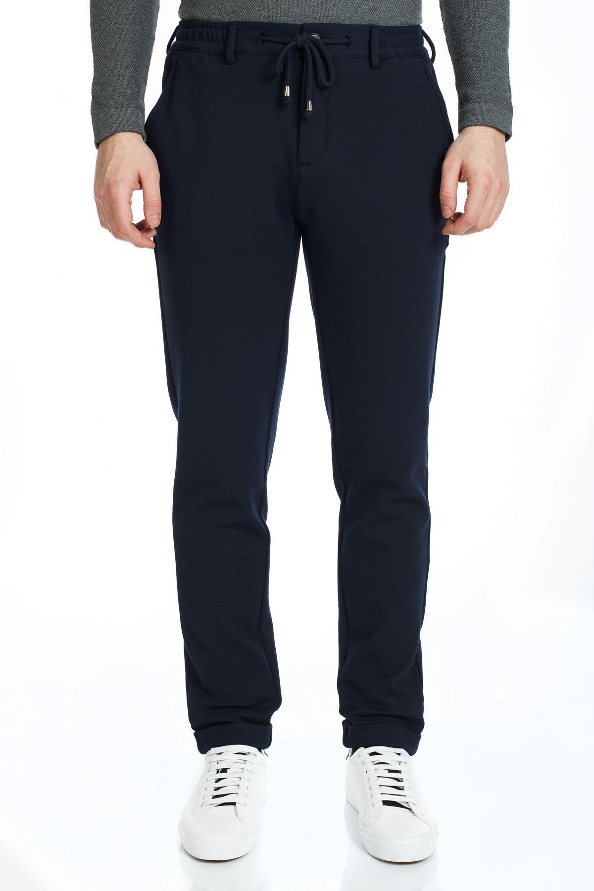 Lacivert Beli Lastikli İpli Slim Kalıp Jogger Pantolon