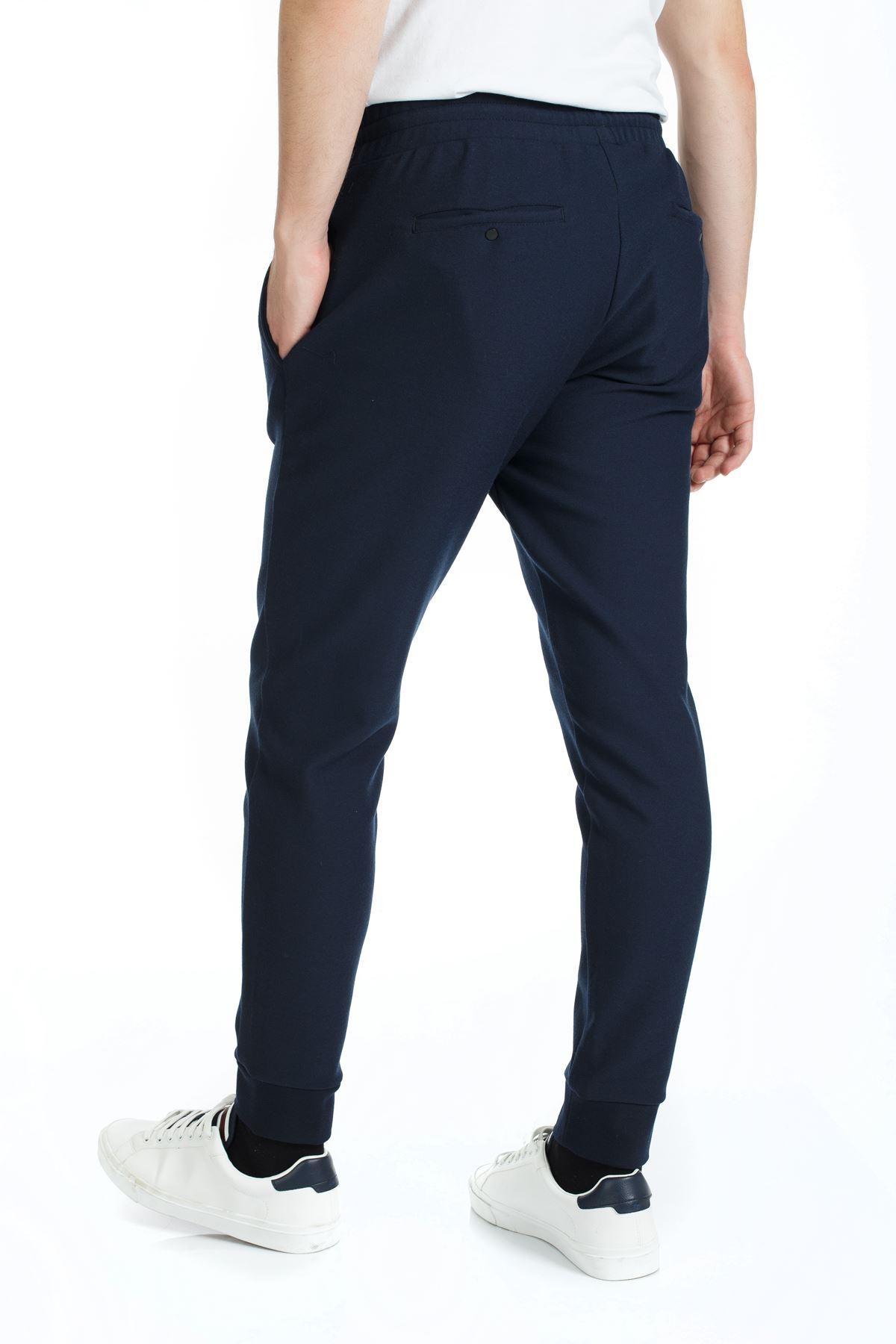 Lacivert Paça Lastikli İpli Slim Kalıp Jogger Pantolon