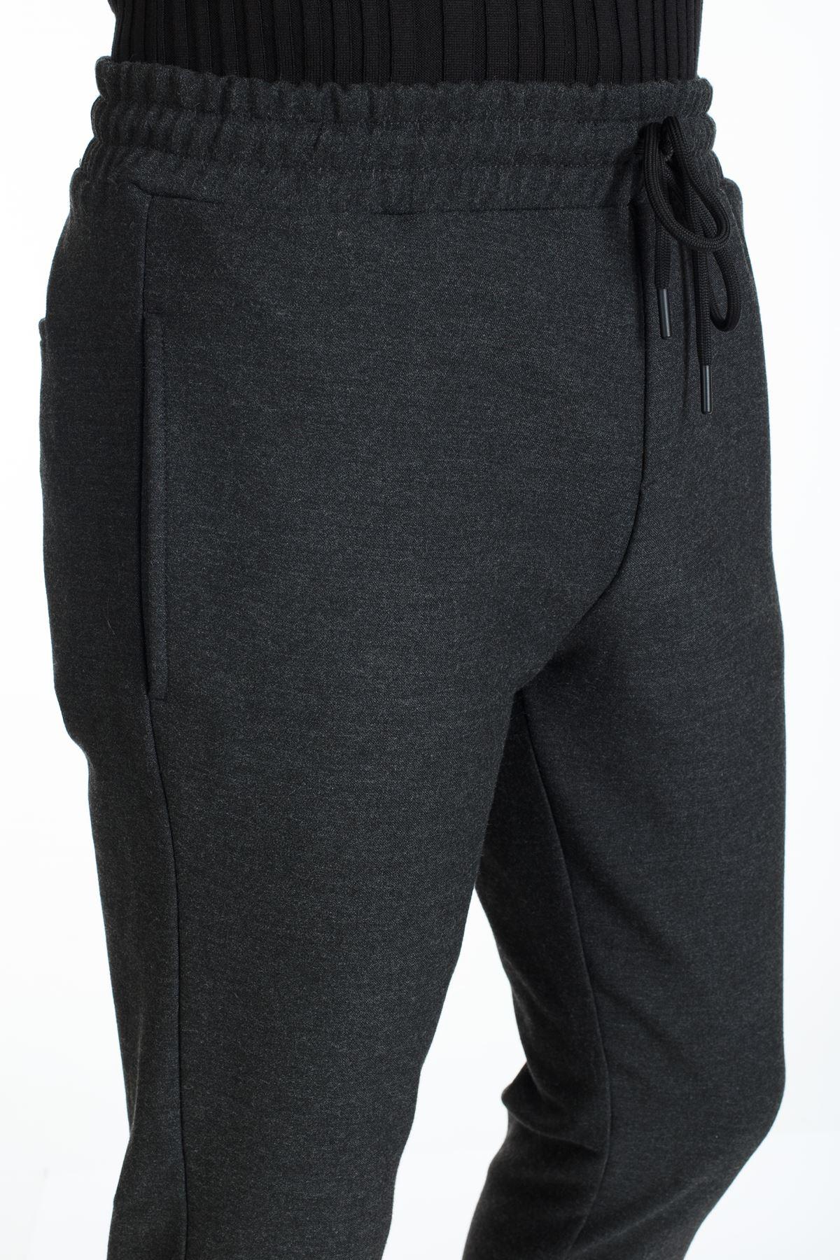 Antrasit İpli Slim Kalıp Paça Lastikli Jogger Pantolon
