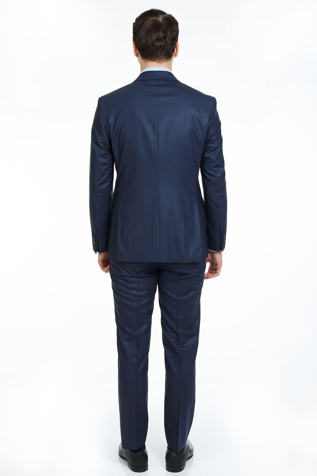 Lacivert Slim Kalıp Yünlü Takım Elbise