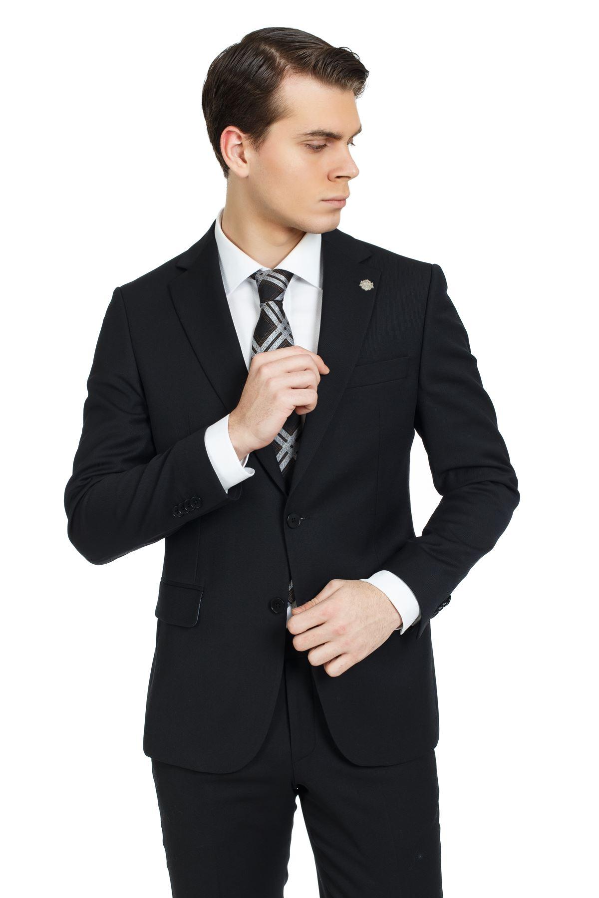 Siyah Diagonal Desen Regular Kalıp Yünlü Takım Elbise