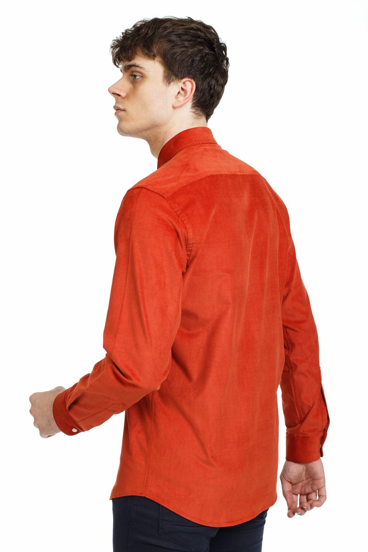 Turuncu Renk Çıt Çıtlı Regular Kalıp Spor Gömlek
